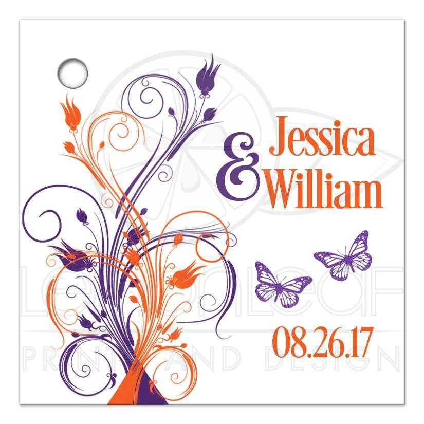 Personalized Purple And Orange Tropical Wedding Favor Tags White Floral Favors
