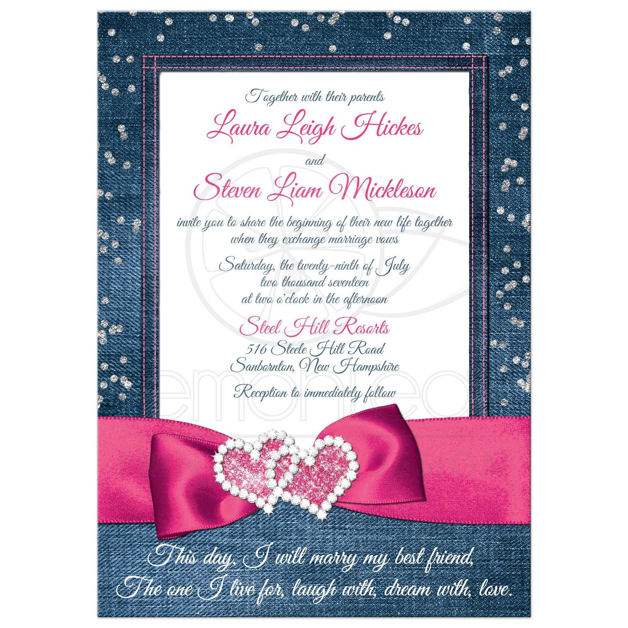 Denim Diamonds Wedding Invitation FAUX Silver Confetti Ribbon
