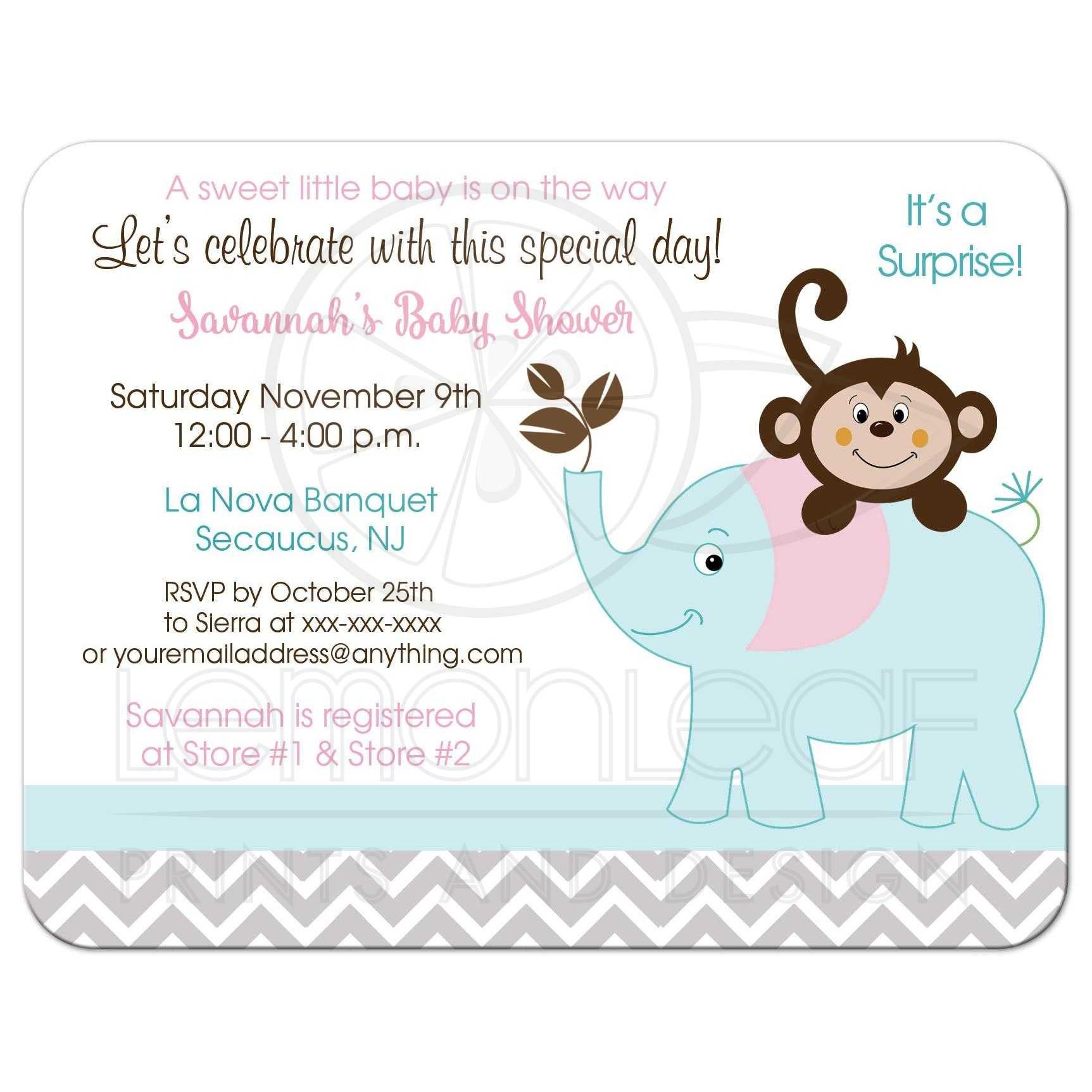 Girl Monkey and Elephant Pink, Gray, Teal Baby Shower Invitations