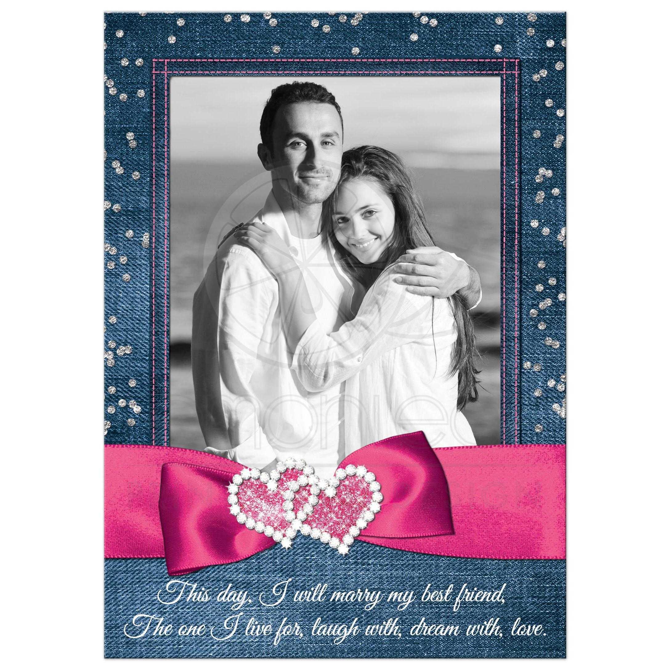 Denim And Diamonds Photo Wedding Invitation Faux Silver Confetti Ribbon Bow Joined Jeweled Hearts Pink