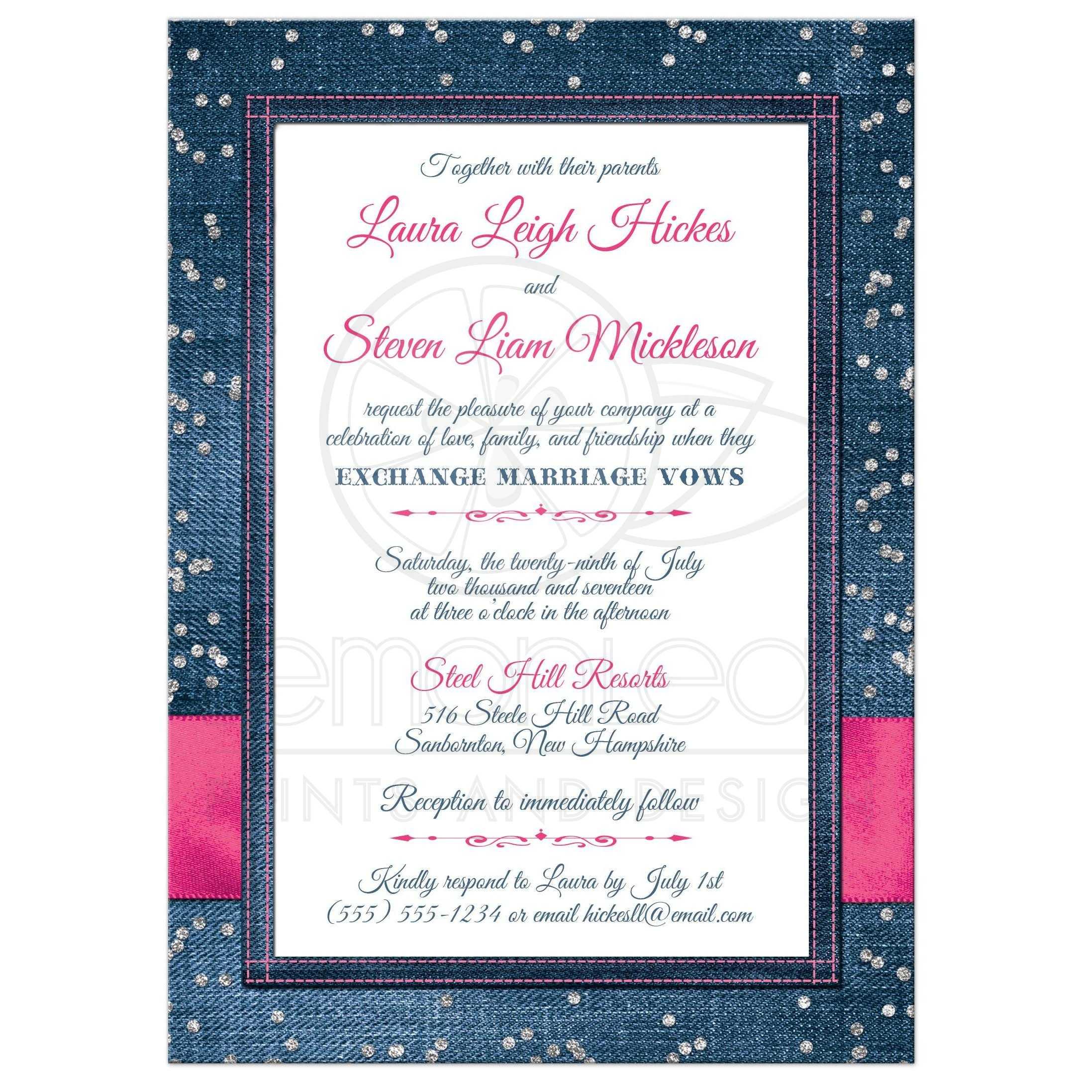 Denim & Diamonds Photo Wedding Invitation | FAUX Silver Confetti ...