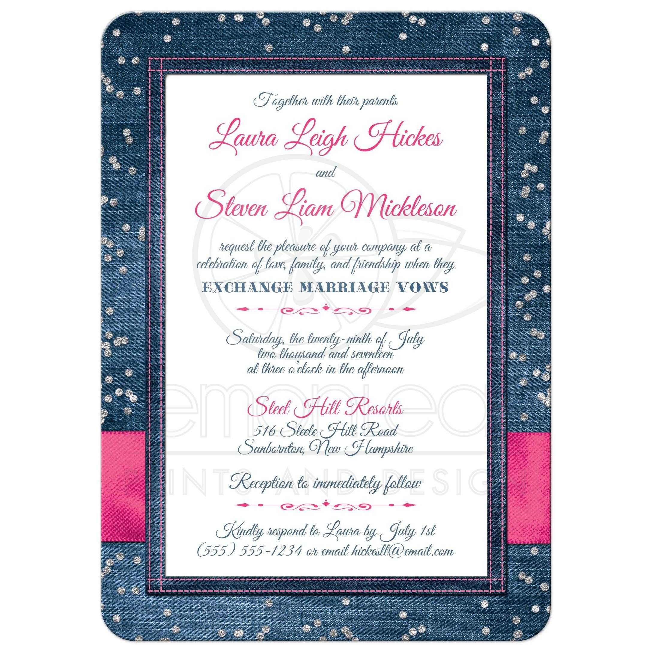 Denim Diamonds Photo Wedding Invitation FAUX Silver Confetti