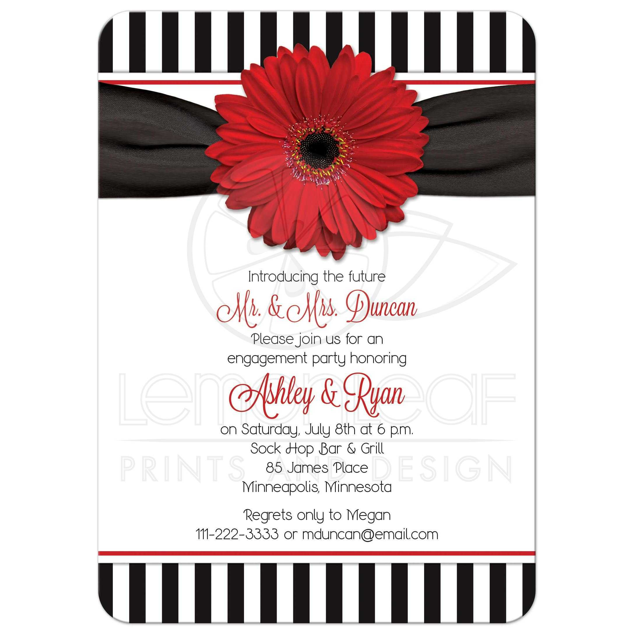 Red Black White Daisy Stripes 50s Engagement Party Invitation