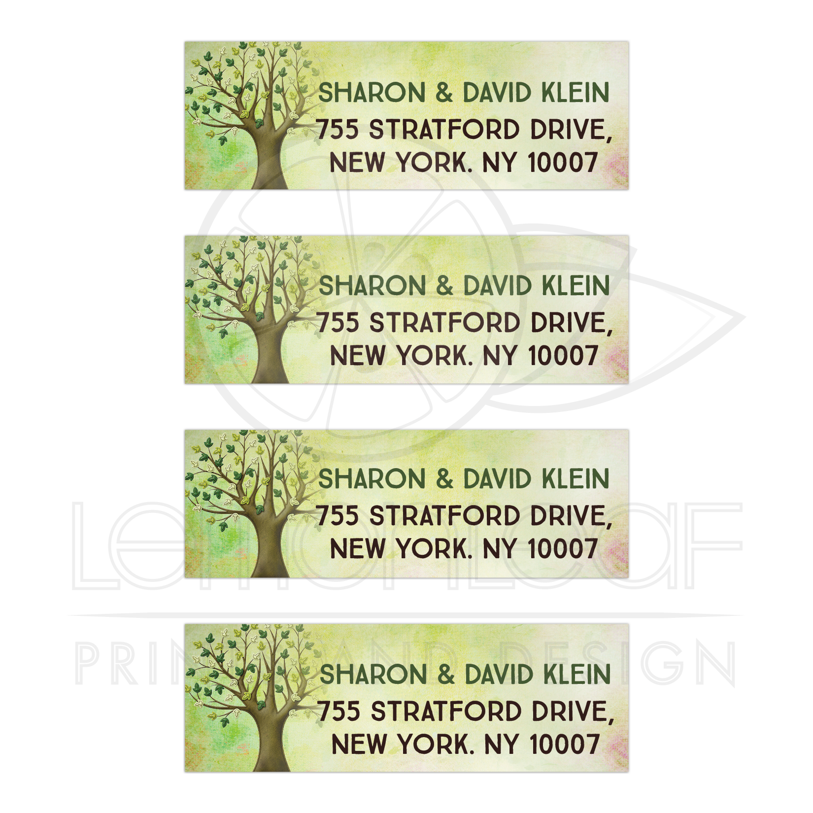 spring tree of life bar mitzvah mailing labels