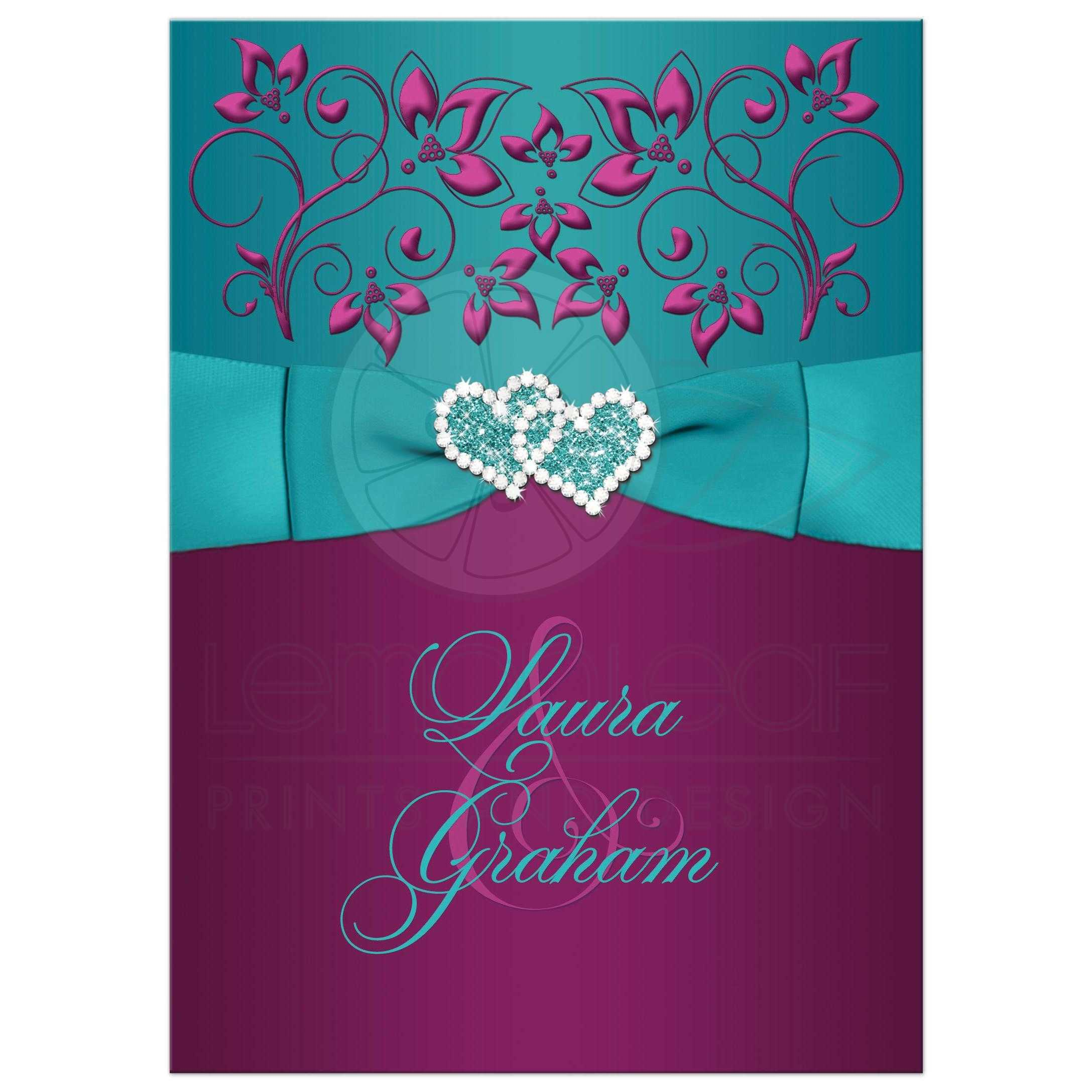 Great Plum Purple, Teal Blue And Magenta Pink Floral Wedding Invitations  With Ribbon, ...