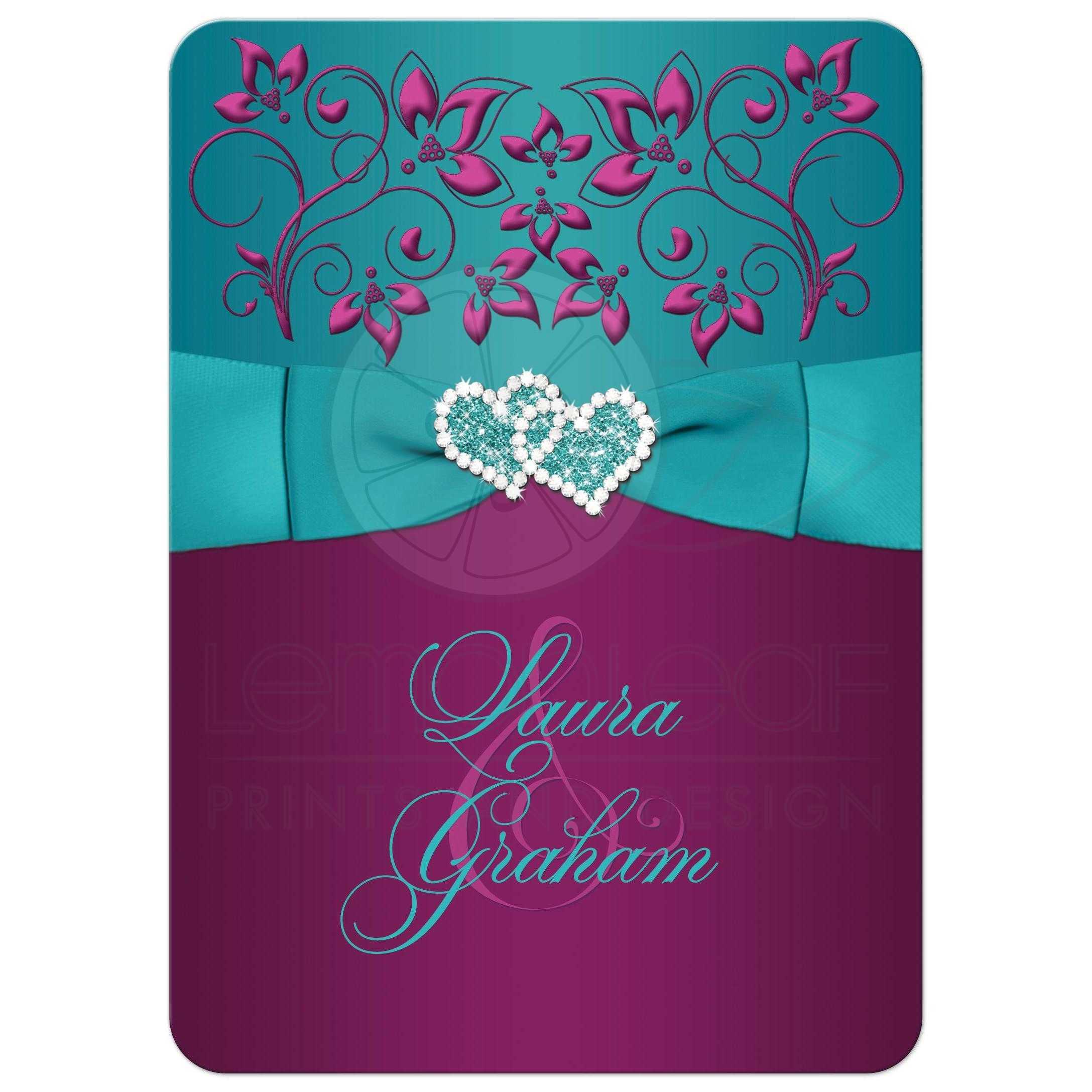 Wedding Invitation Teal Plum Magenta Floral Printed