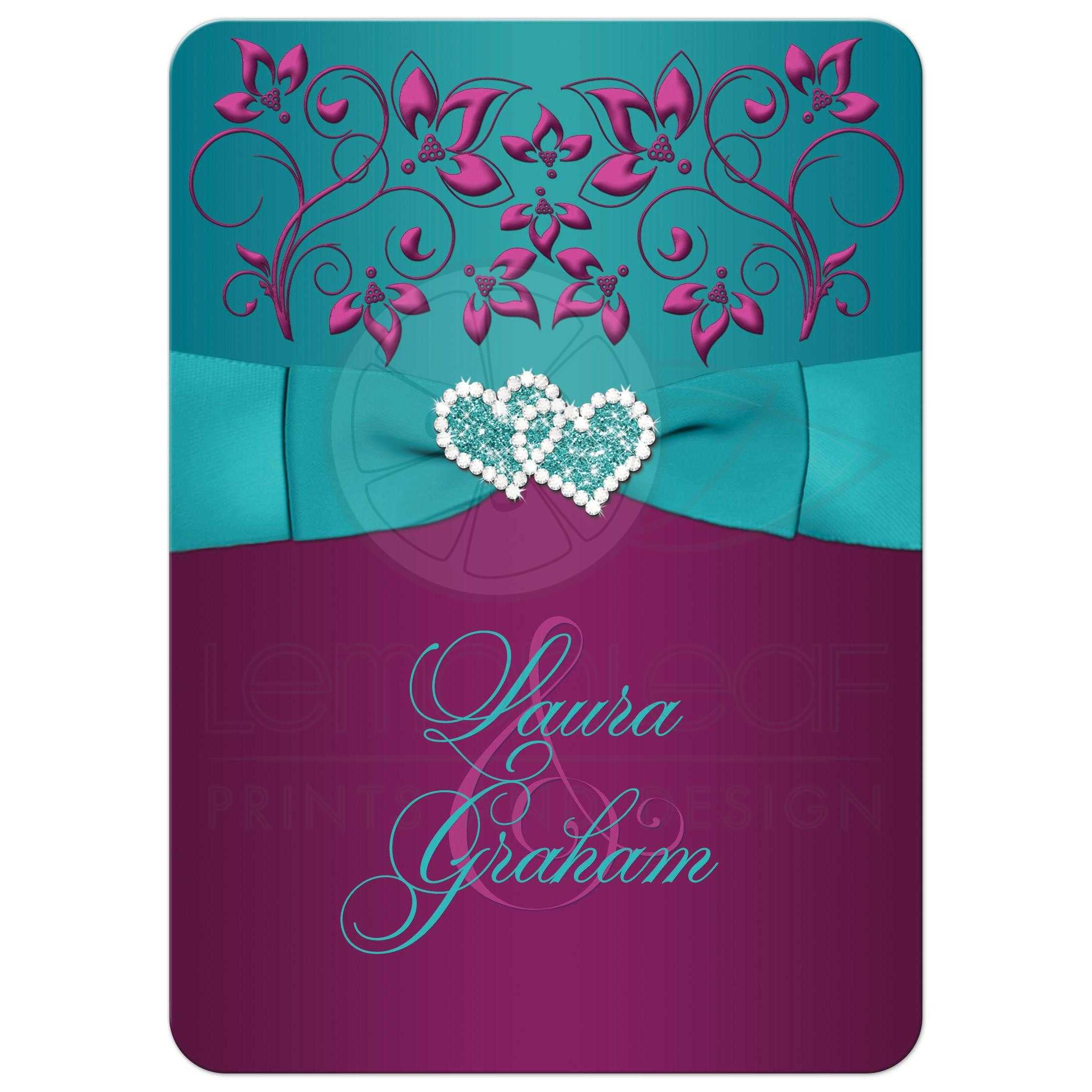 ... Bow Great Plum Purple, Teal Blue And Magenta Pink Floral Wedding  Invitations With Ribbon, ...