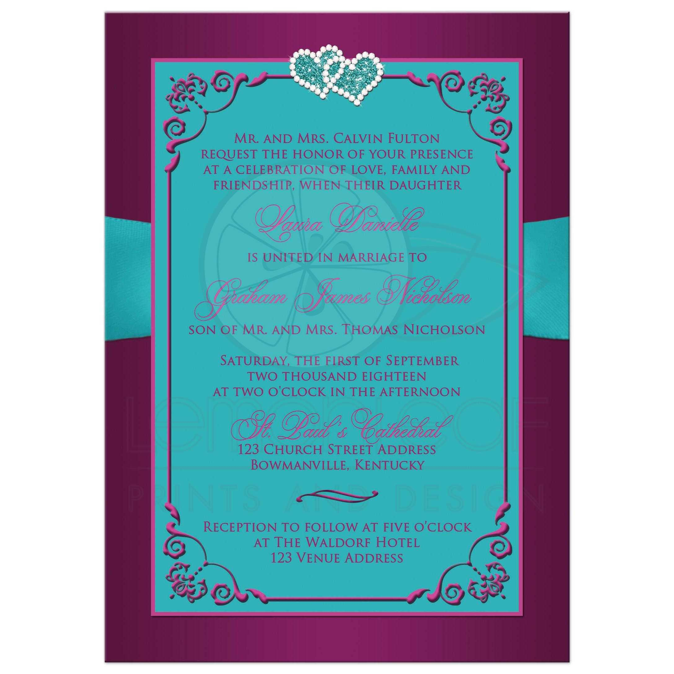 ... Bow Plum Purple, Teal Blue And Magenta Pink Floral Wedding Invites With  Ribbon, Bow, ...