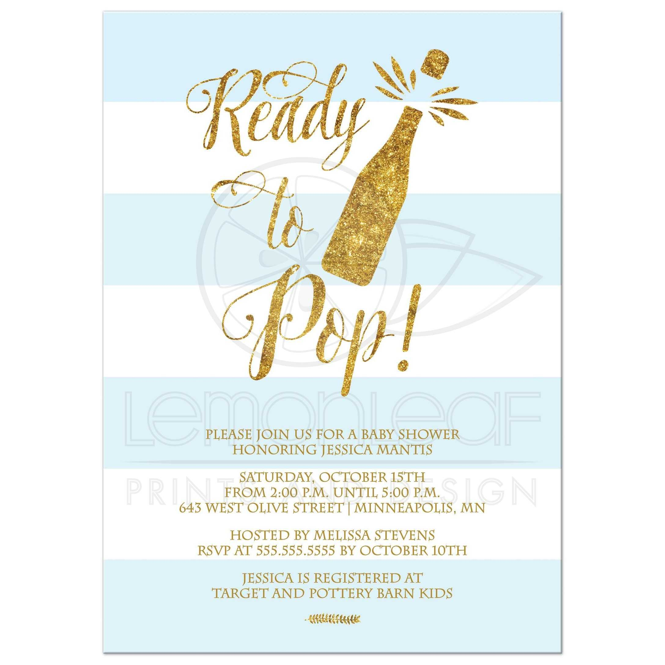 ready to pop blue stripes and gold boy baby shower invitation