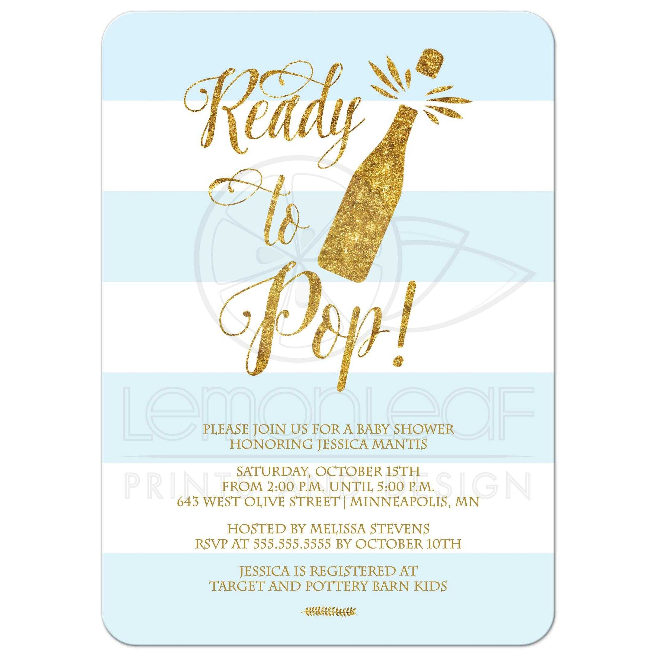 Ready to Pop Boy Baby Shower Invitation - Blue and Gold PRINTED glitter