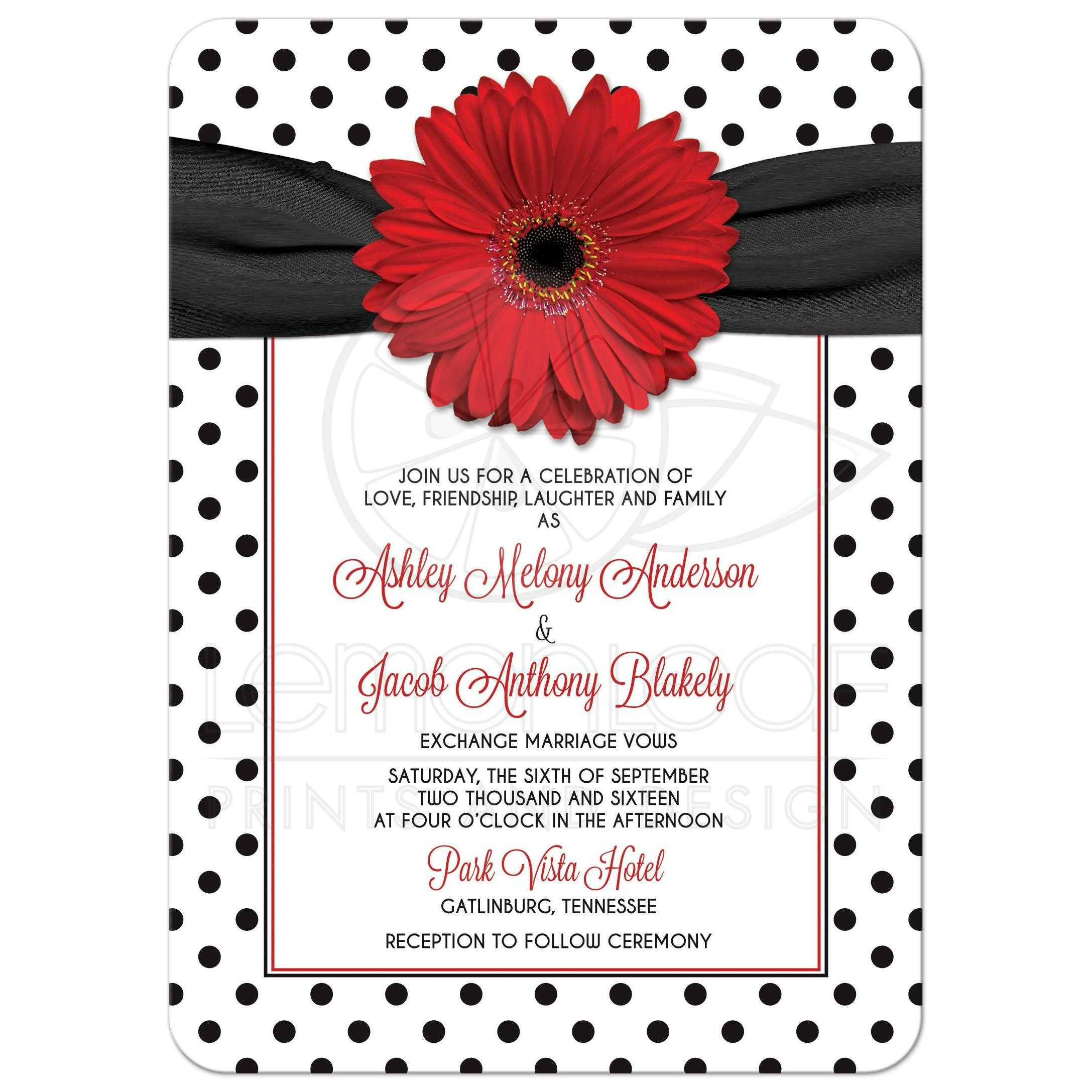 red daisy polka dot wedding invitation retro red black white