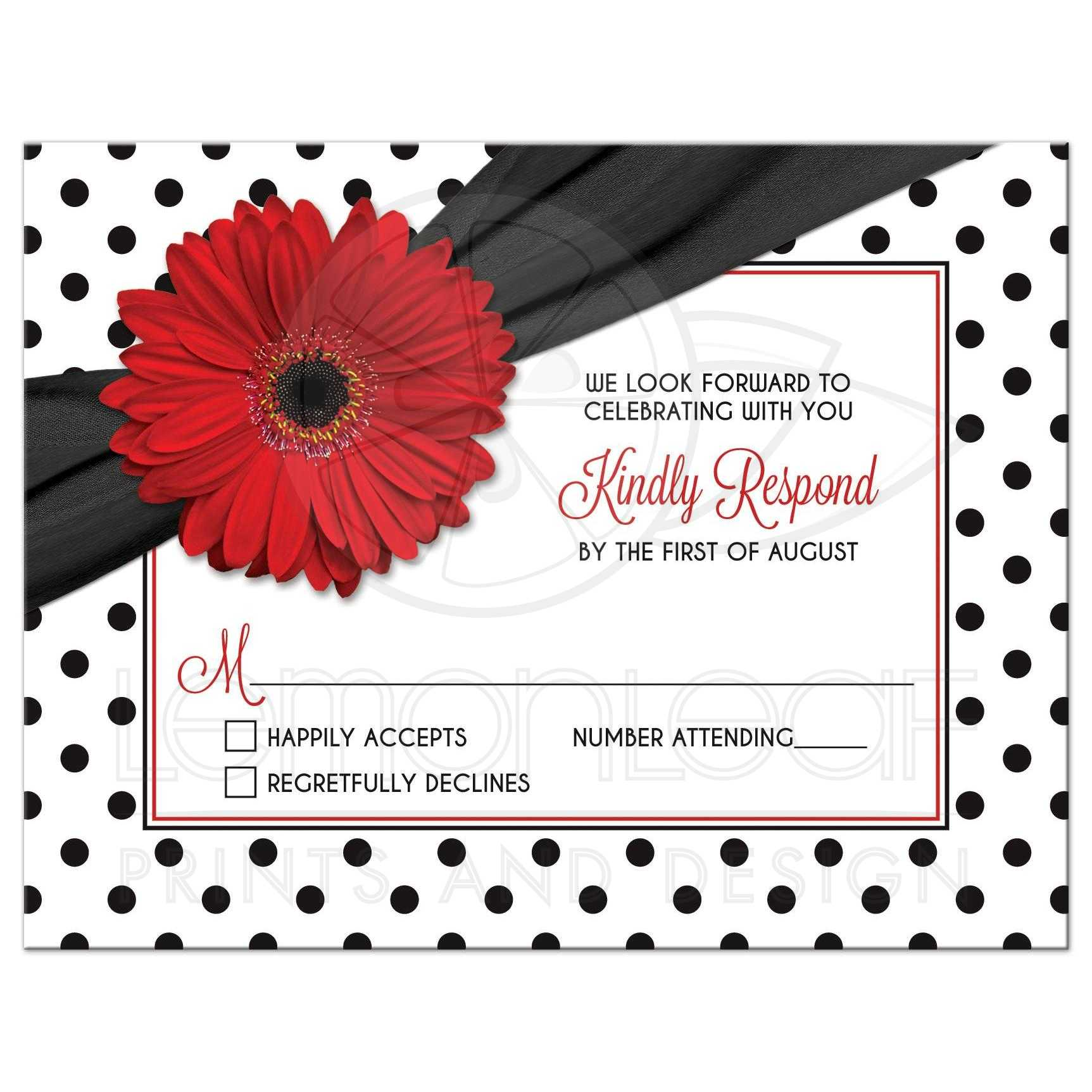 Red Daisy Polka Dot Wedding Reply Card | Retro Red Black White
