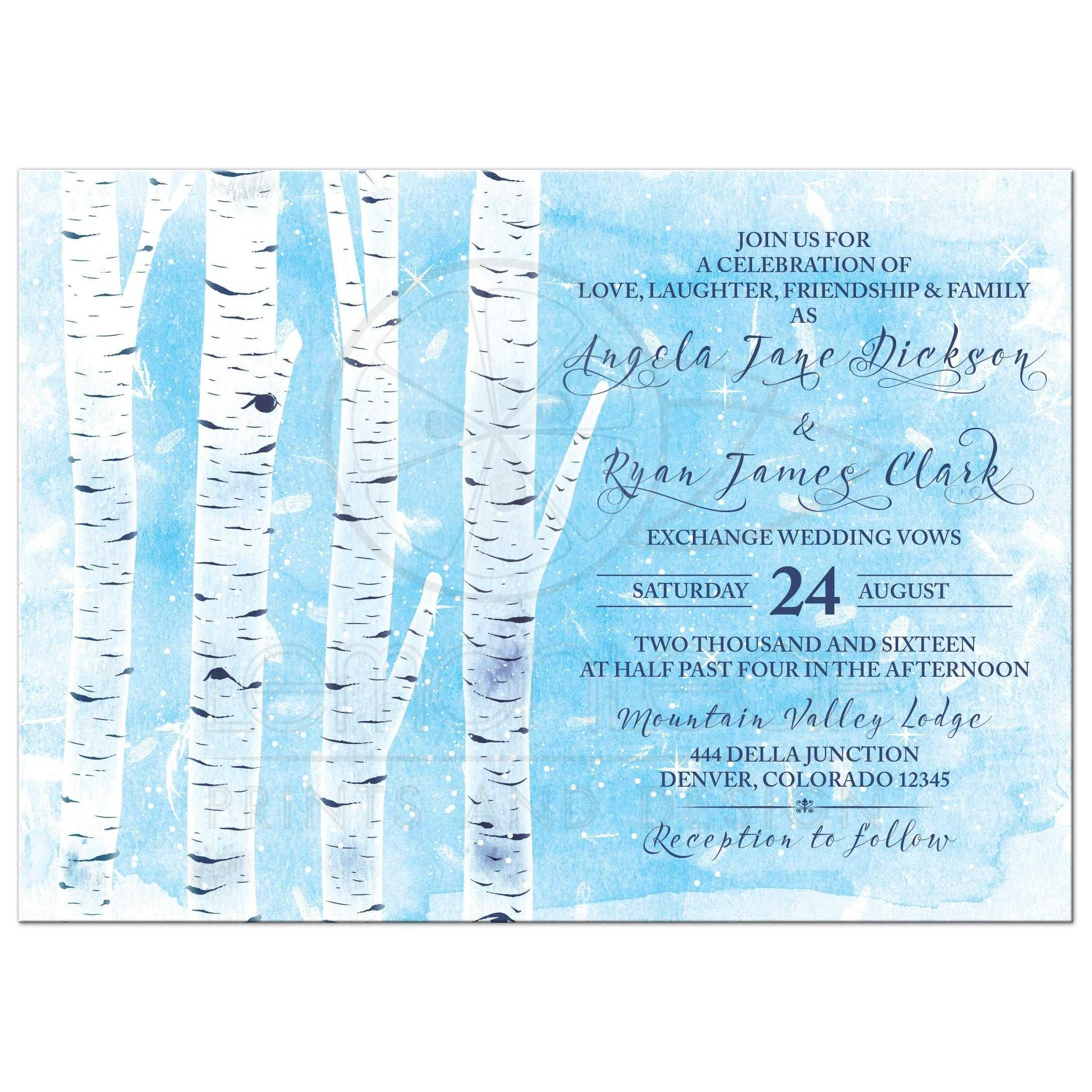 Winter Birch Tree Wedding Invitation | Navy Blue White