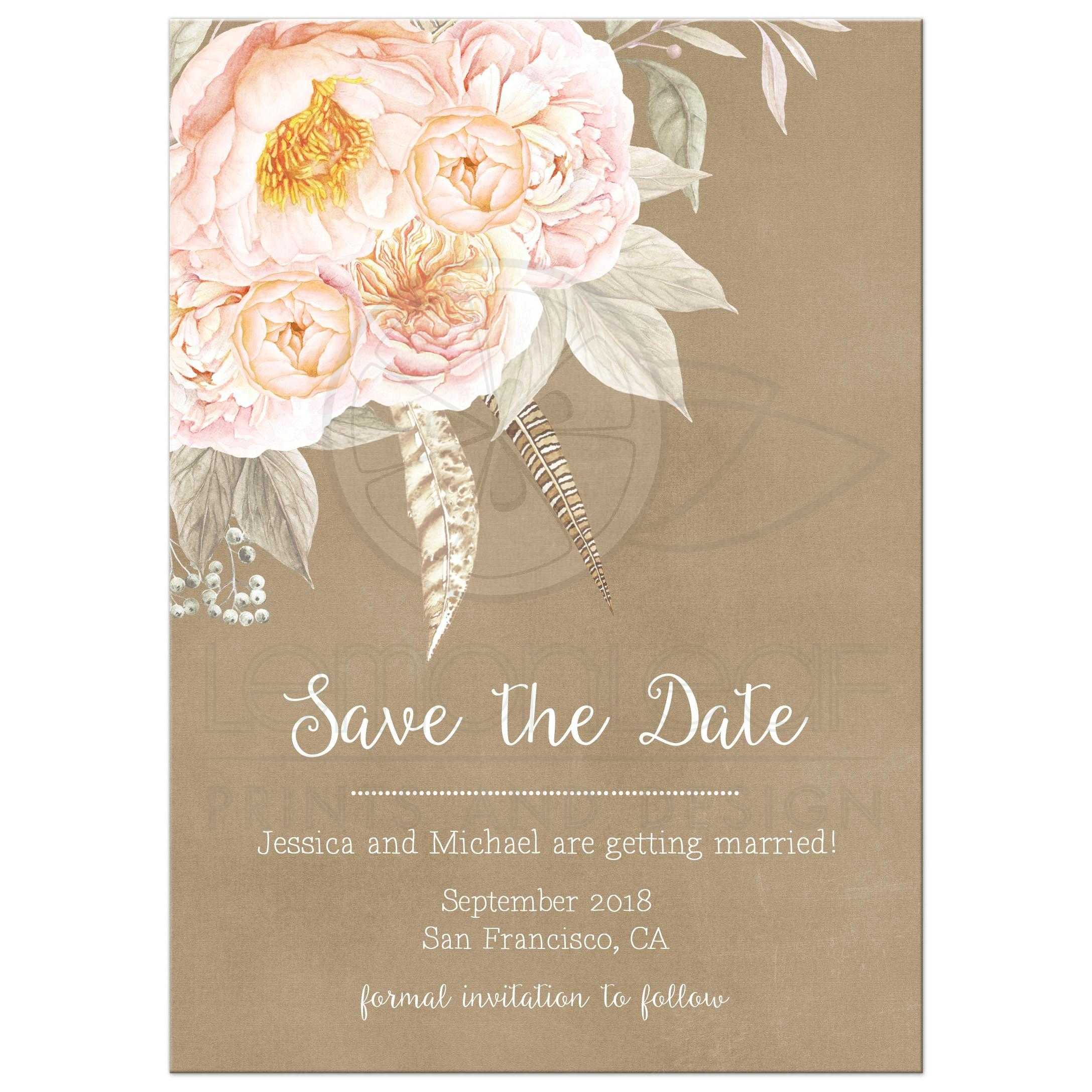 Pink Vintage Floral Peony Save The Date Kraft Feathers