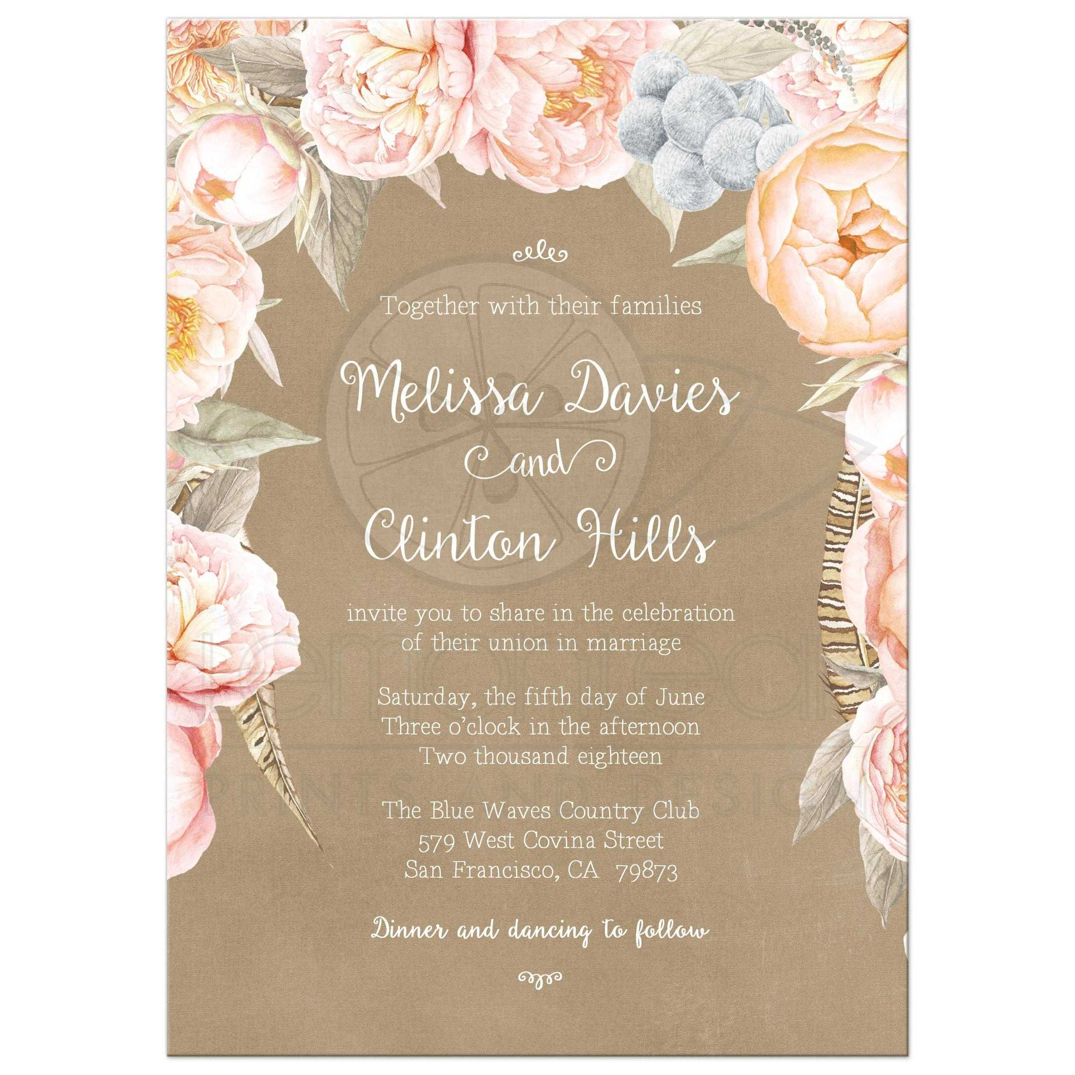 Pink Vintage Floral Peony Border Wedding Invitation Kraft – Floral Wedding Invitations