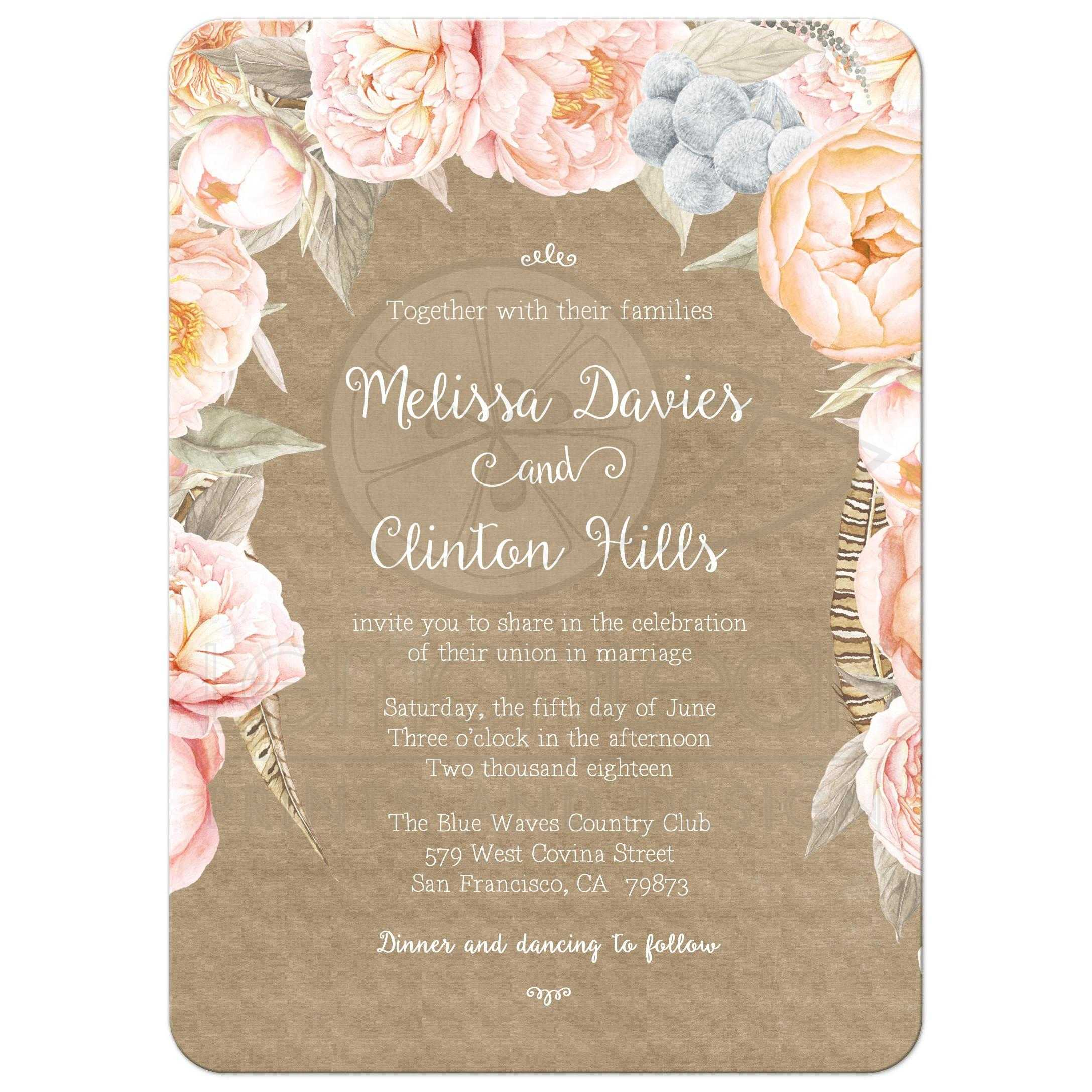 Pink Vintage Floral Peony Border Wedding Invitation Kraft