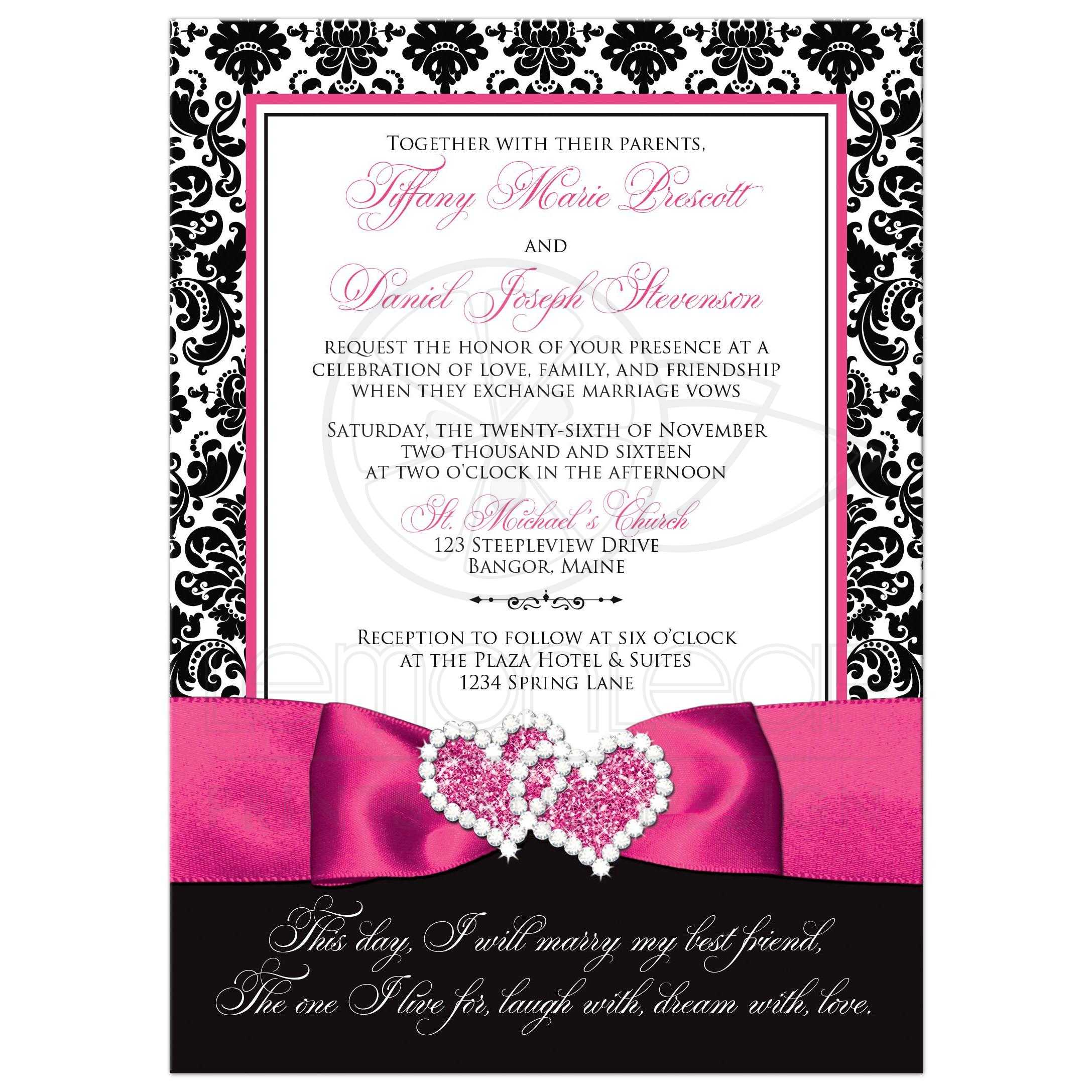 wedding invitation photo optional black and white damask