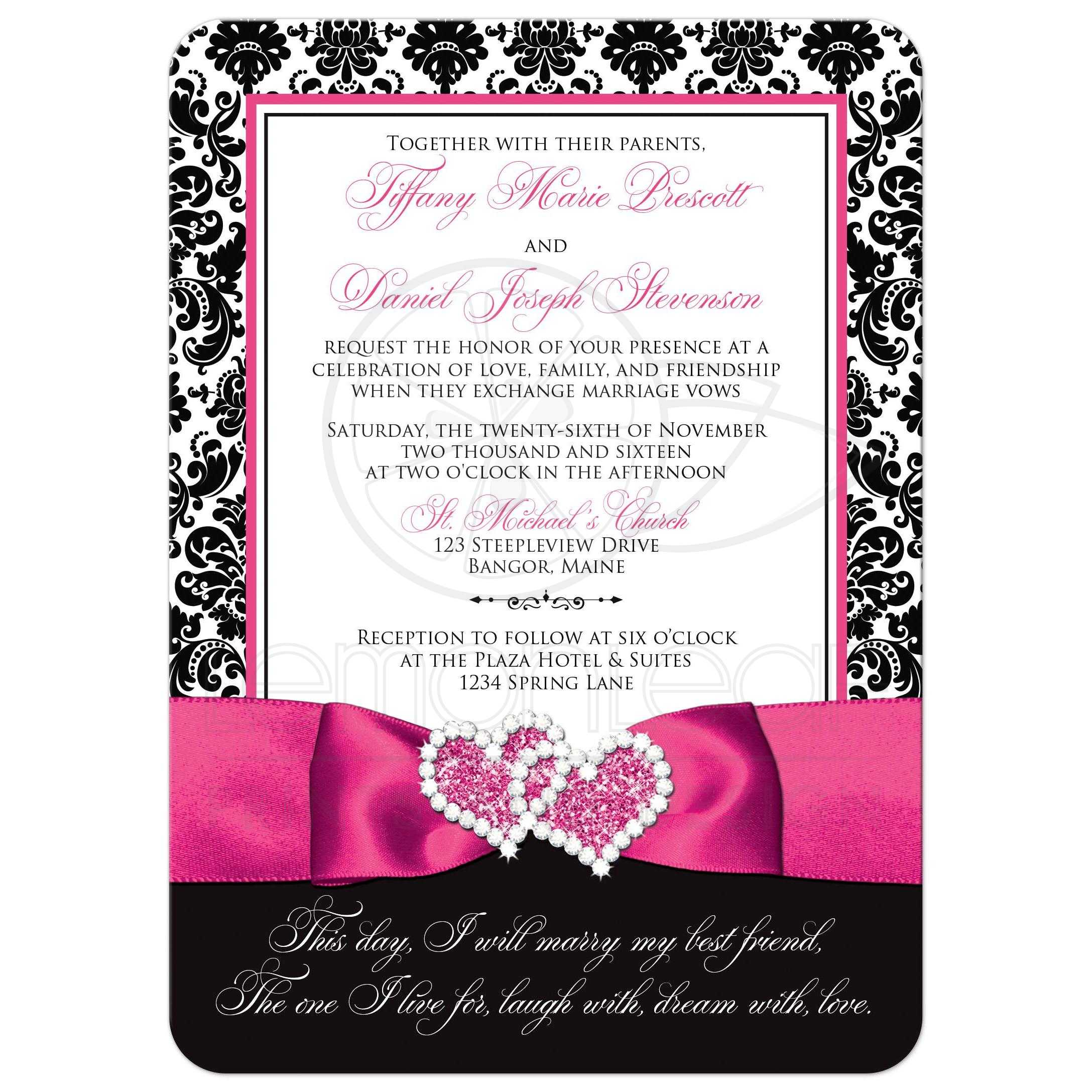 ... Great Black And White Damask Wedding Invitations With Fuchsia Pink  Ribbon And Jewelled Joined Hearts Brooch ...