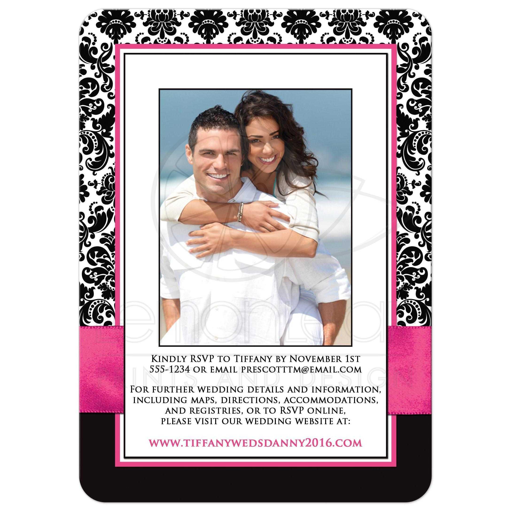 Wedding Invitation PHOTO Optional – Black and White Damask Wedding Invitations