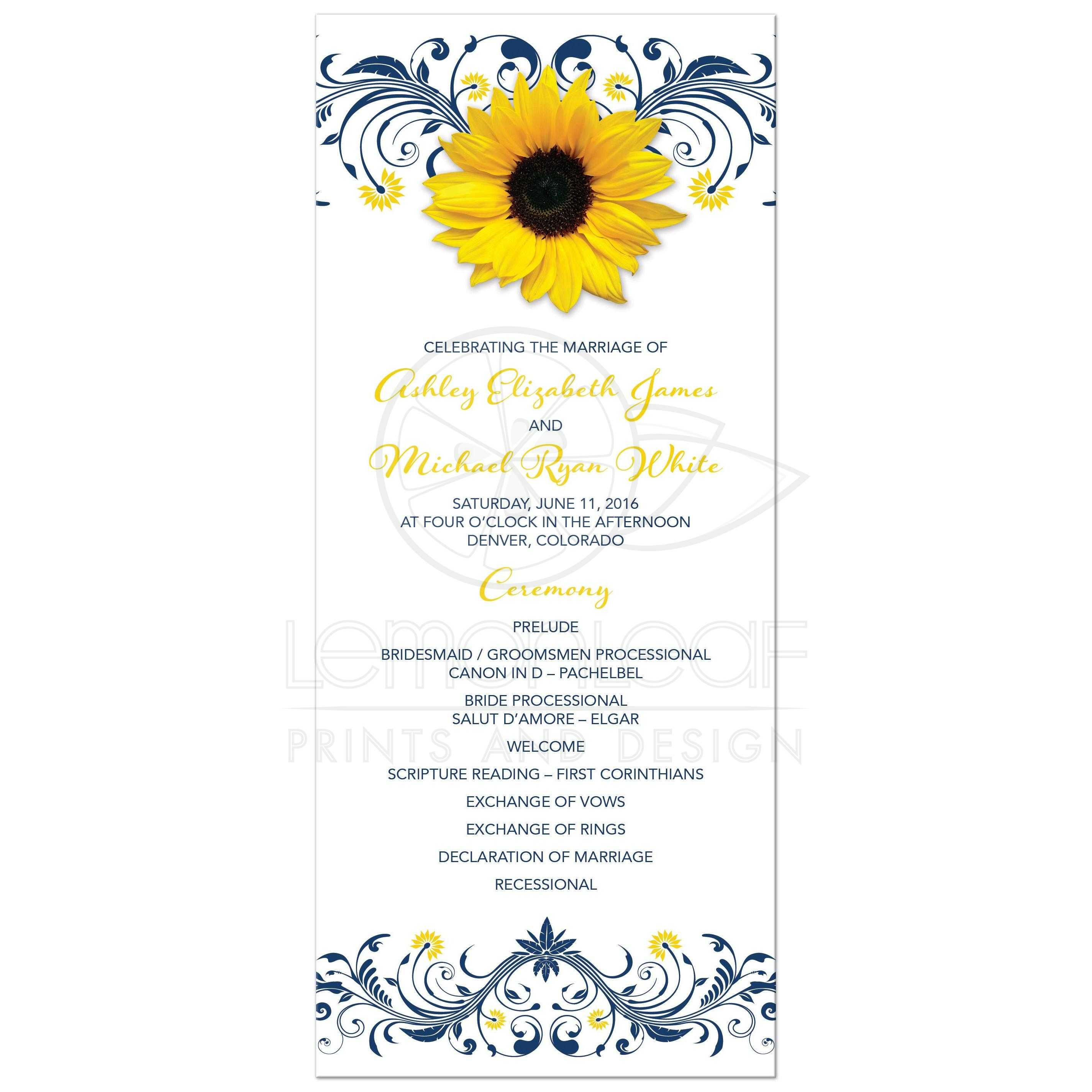 Yellow Sunflower Navy Blue Flourish Fl Wedding Program Front