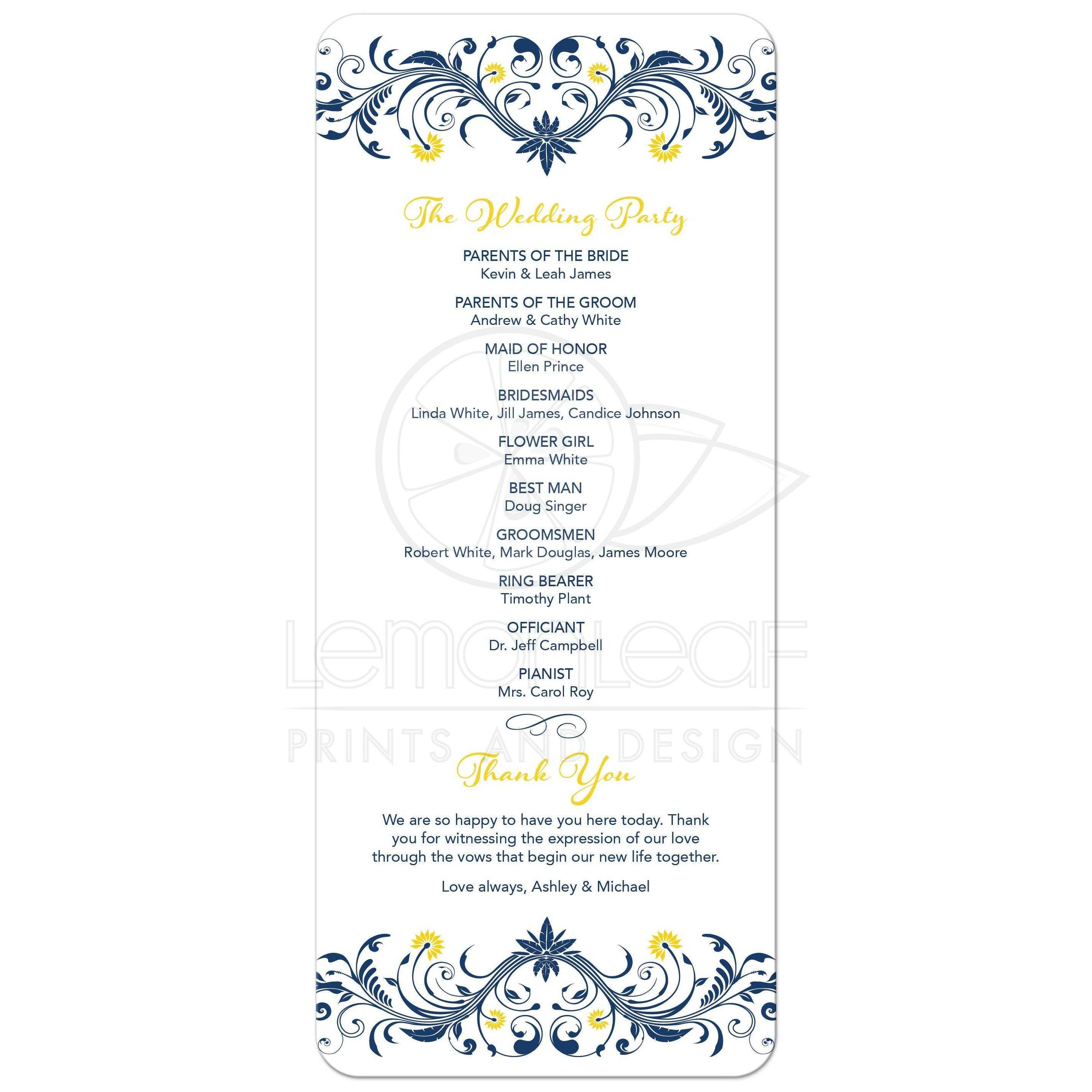 sunflower navy blue wedding program navy blue yellow floral