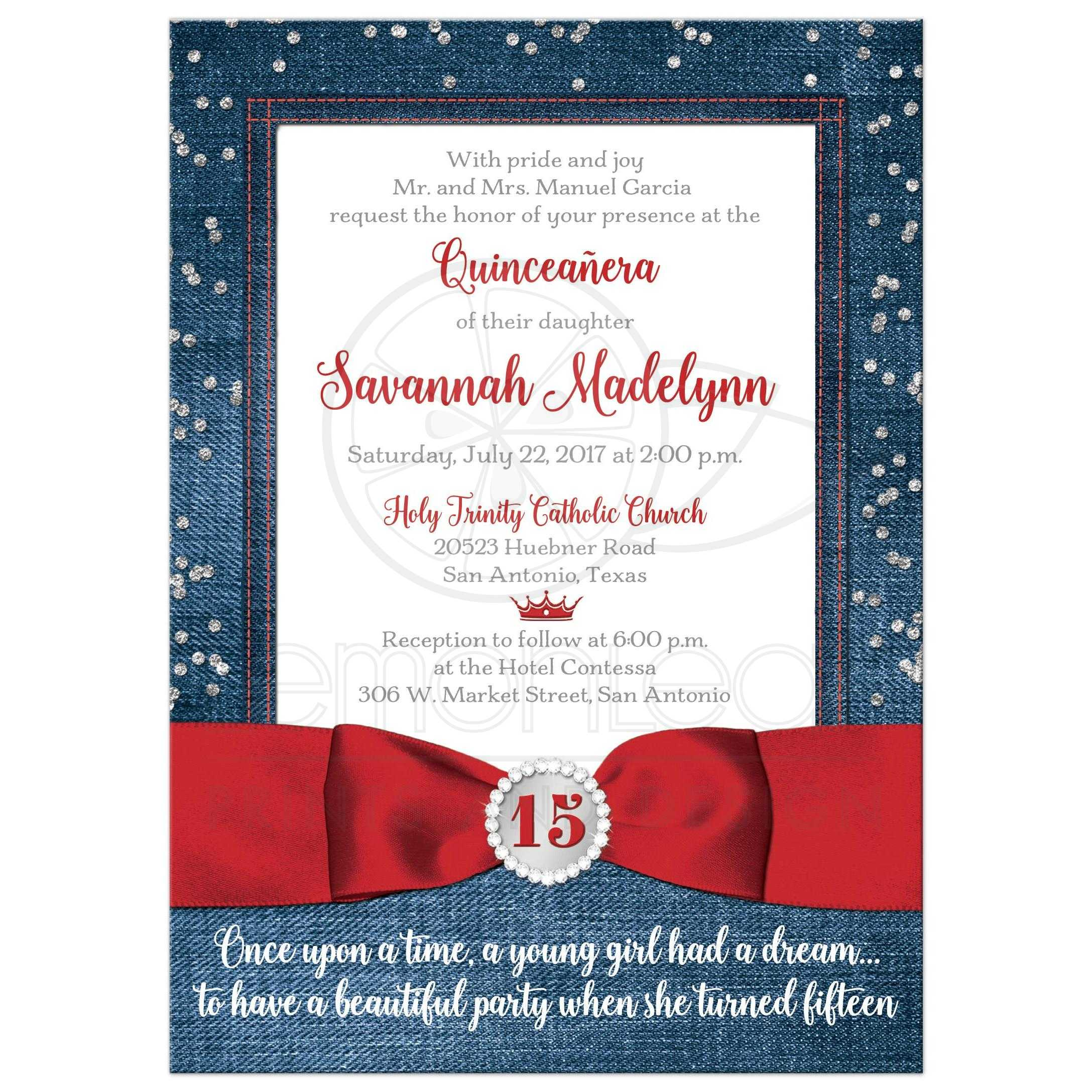 Quinceaera Invitation Denim Diamonds Printed Red Ribbon