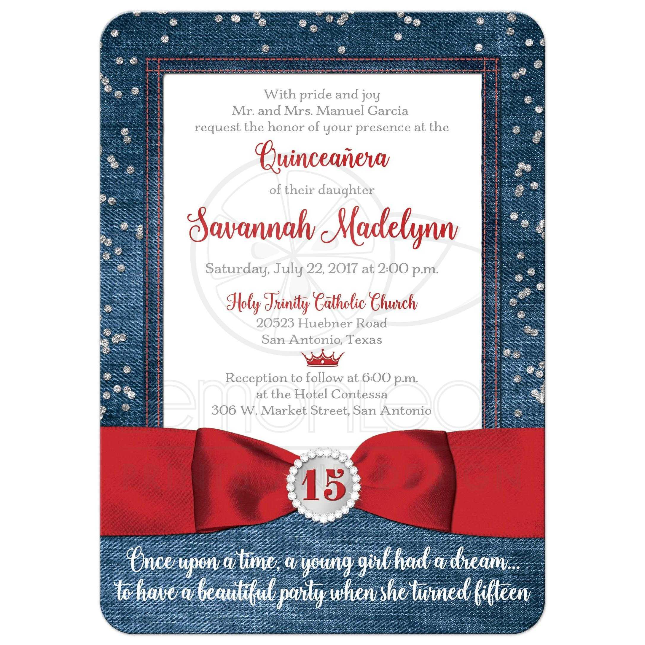 Quinceañera Invitation | Denim & Diamonds | Printed Red Ribbon, Bow ...