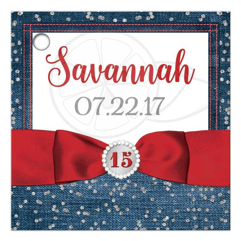 personalized quinceañera favor tag denim diamonds printed red