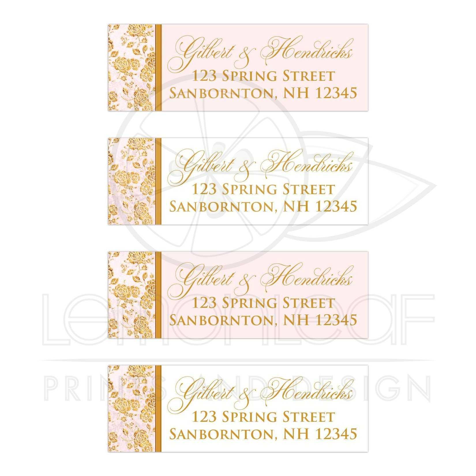 address labels vintage floral blush pink ivory gold leaf faux