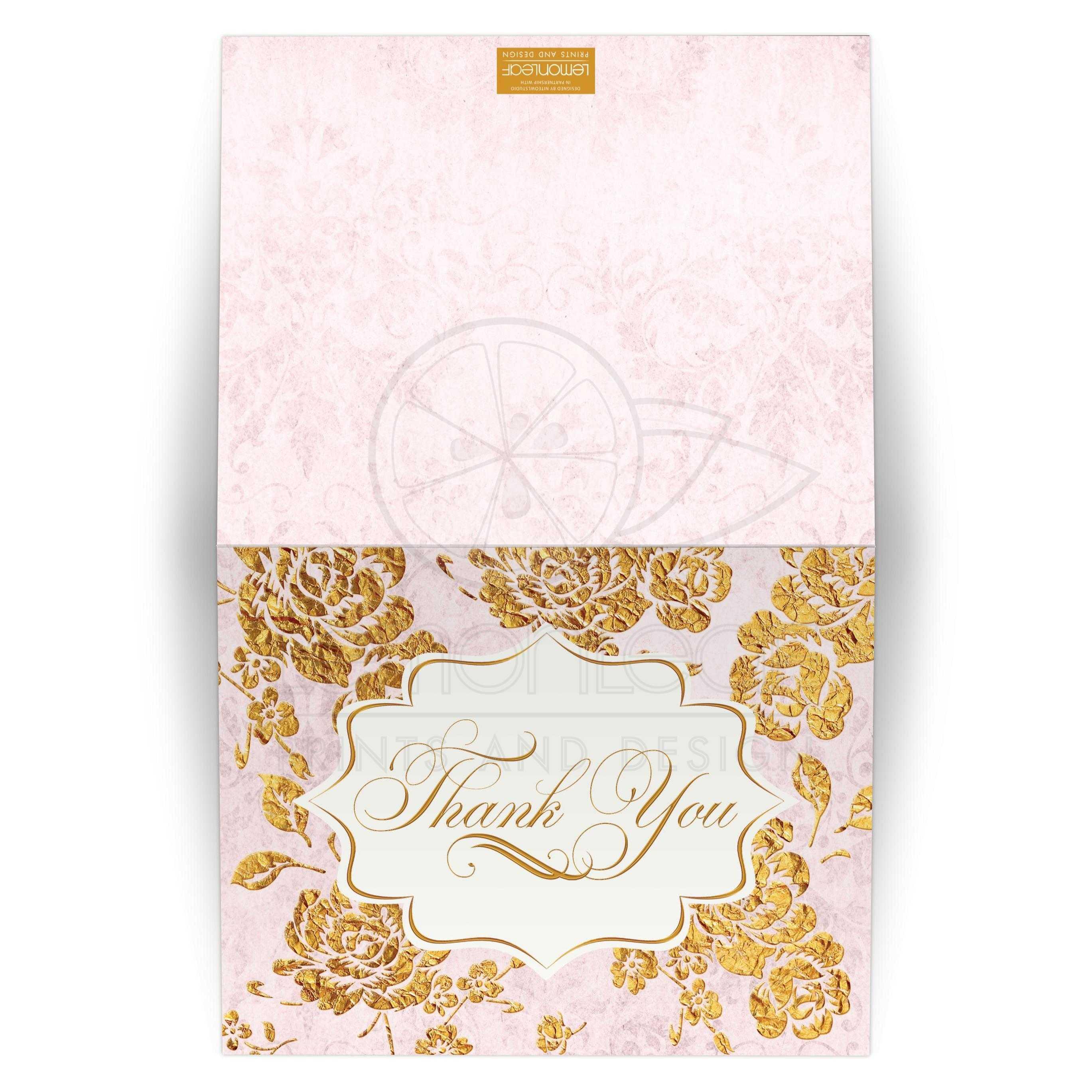 Wedding Thank You Card - BLANK | Vintage Floral | Blush Pink, Ivory ...