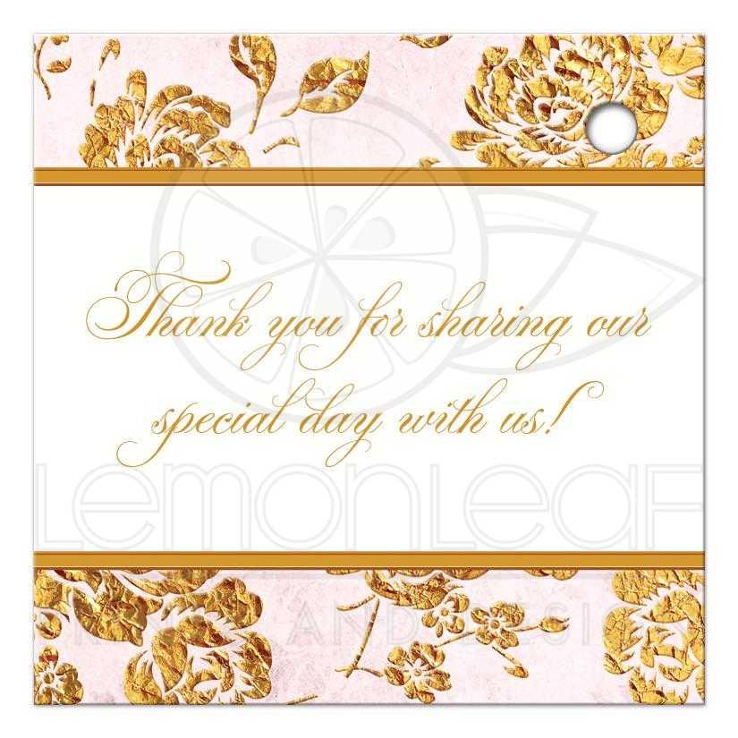 Personalized Wedding Favor Tag Vintage Floral Blush Pink Ivory