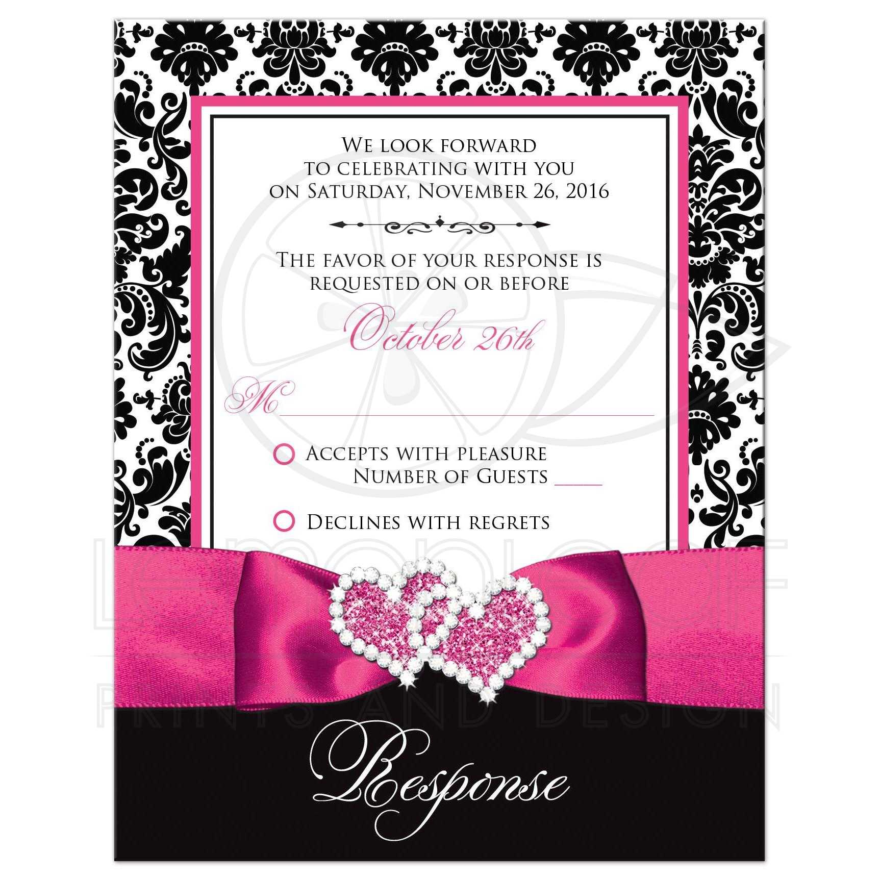 Wedding Response Card | Black and White Damask | PRINTED Pink Ribbon ...