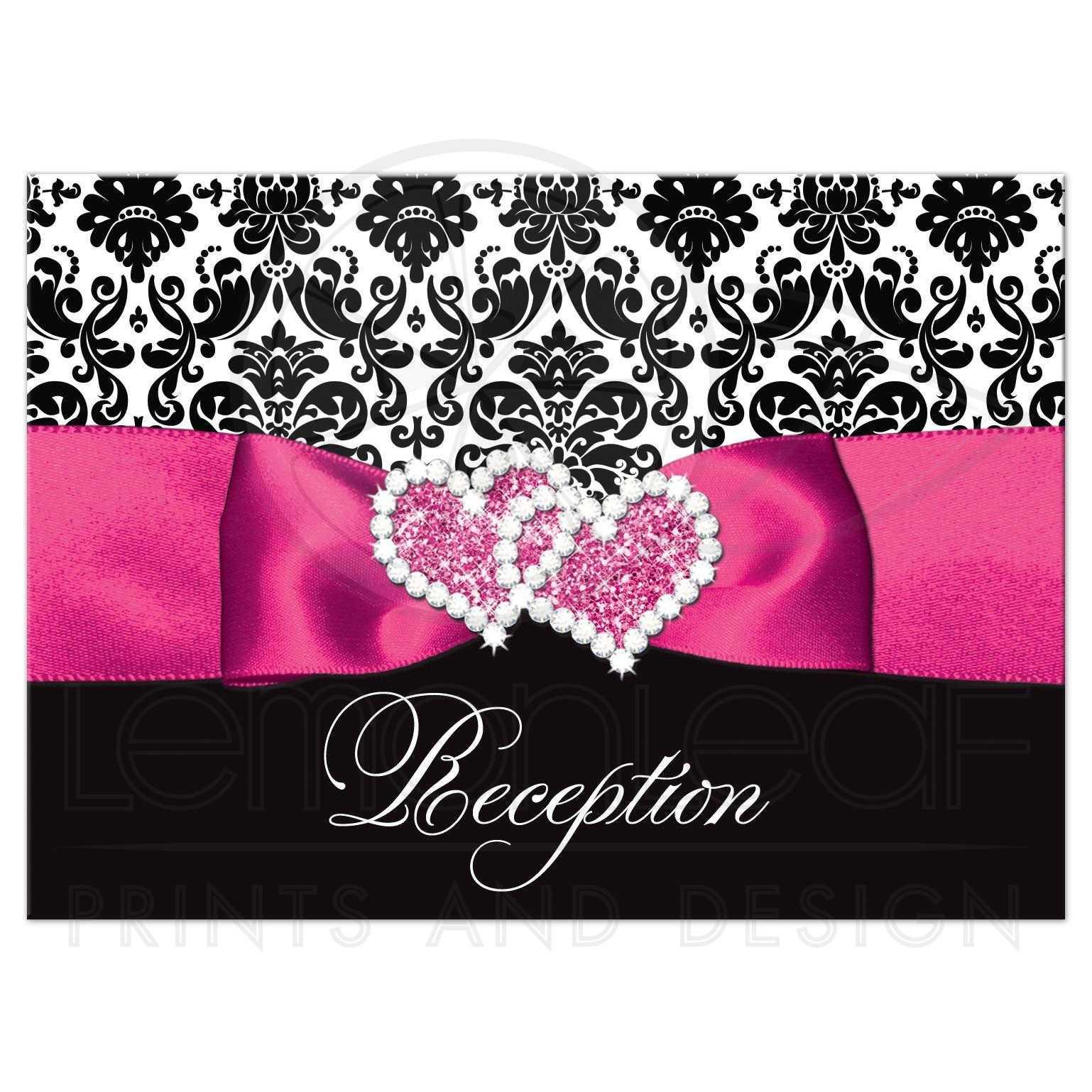 Wedding Reception Enclosure Card | Black and White Damask | PRINTED ...