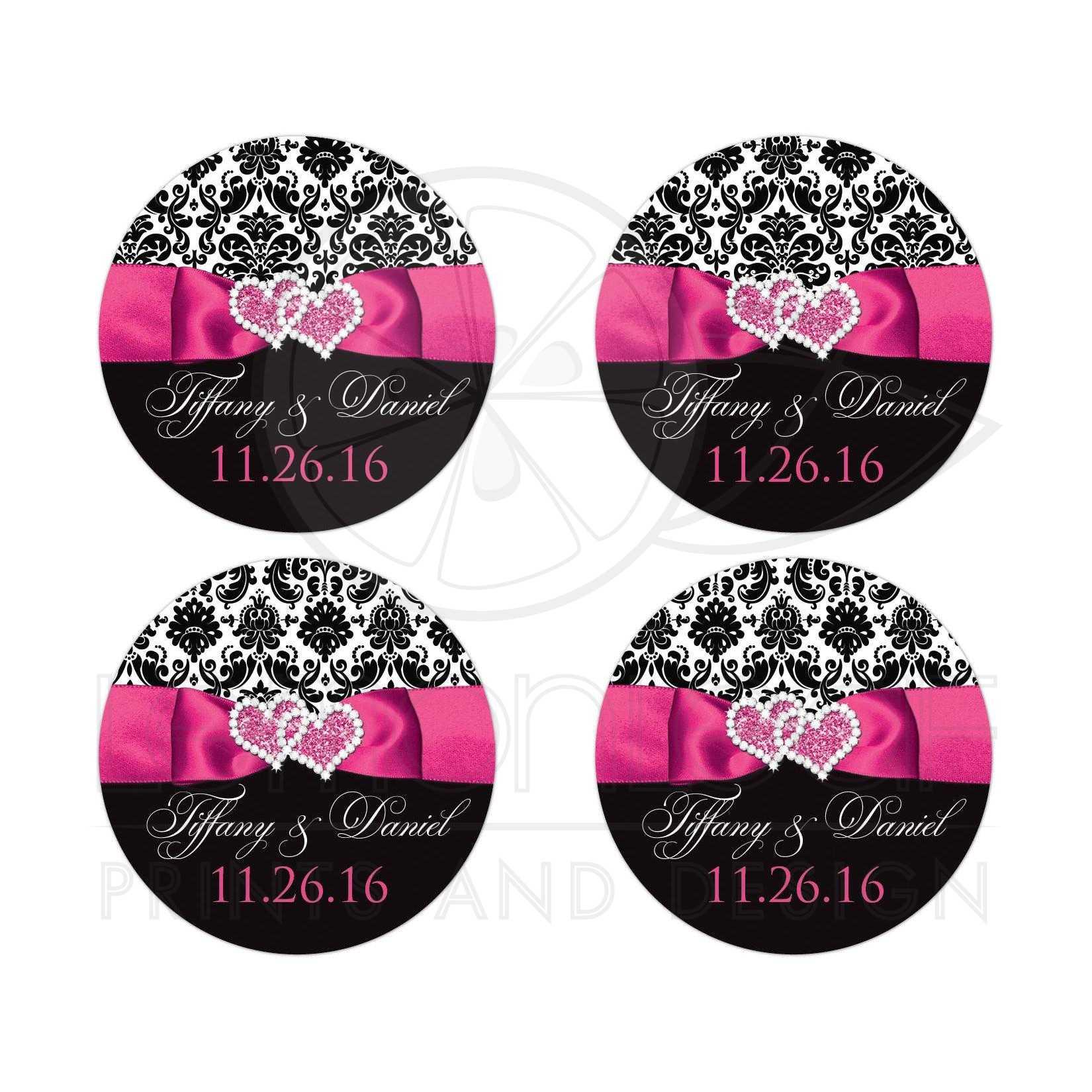 Wedding Favor Sticker Black And White Damask Printed Pink Ribbon