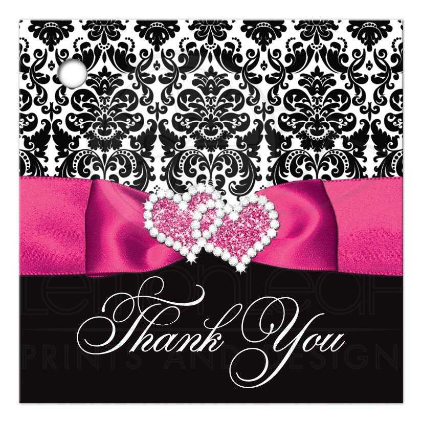 Wedding Favor Thank You Tag - BLANK | Black and White Damask ...