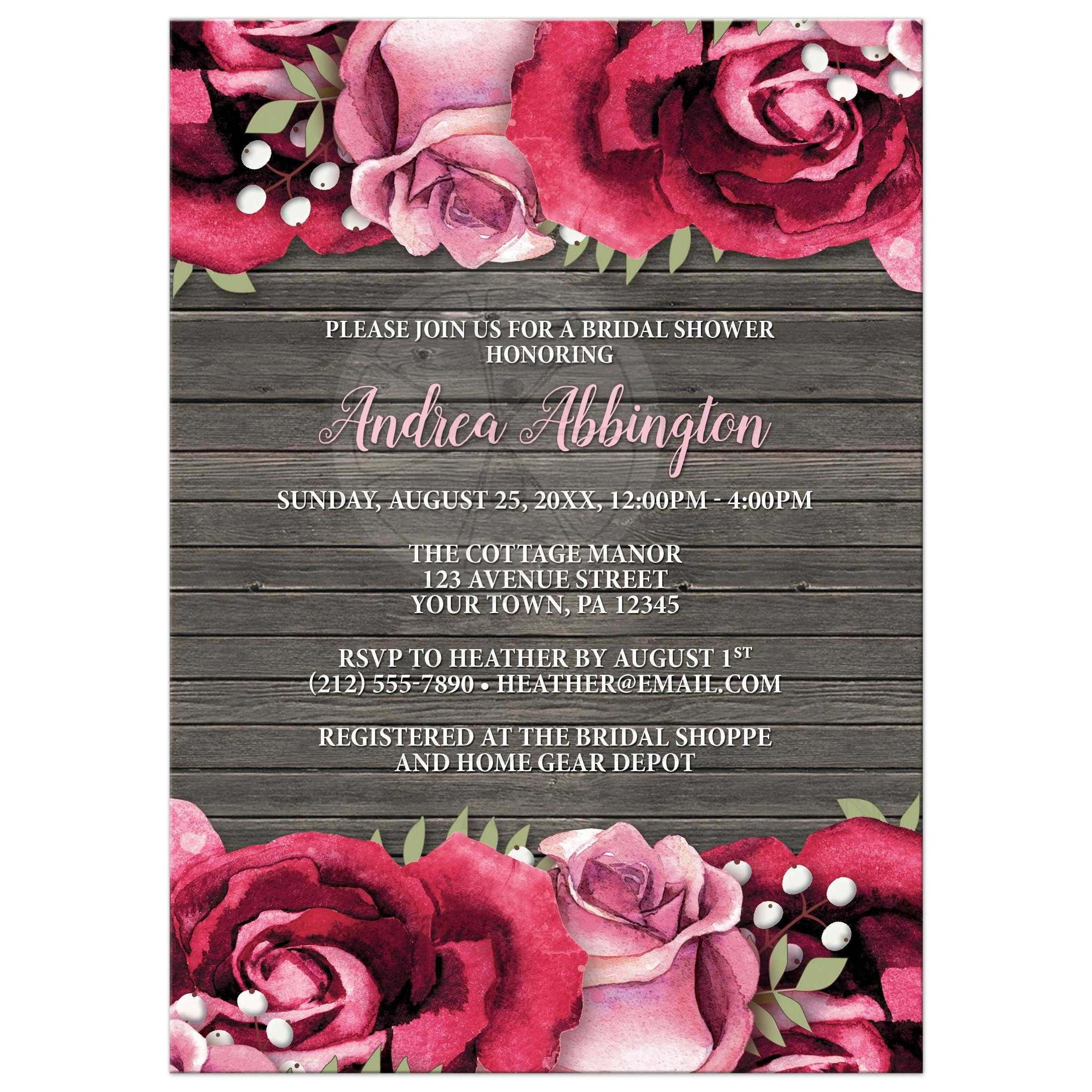 Wedding Invitations Rose: Rustic Burgundy Pink Rose Wood