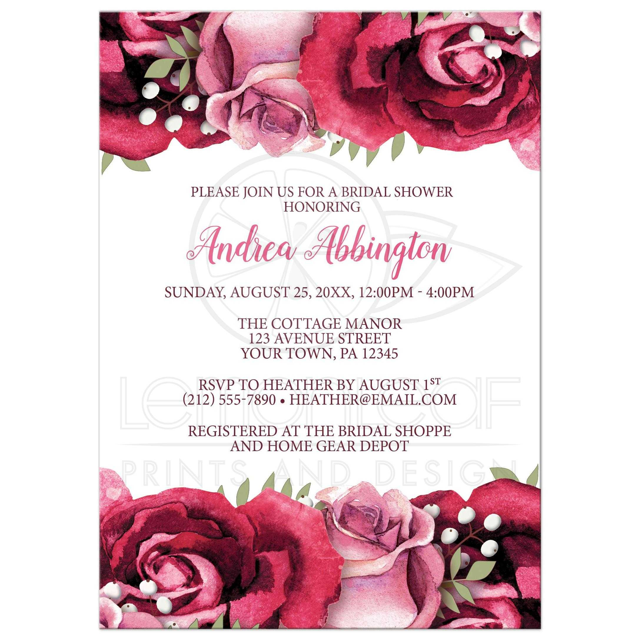 Bridal Shower Invitations - Burgundy Pink Rose White Rustic
