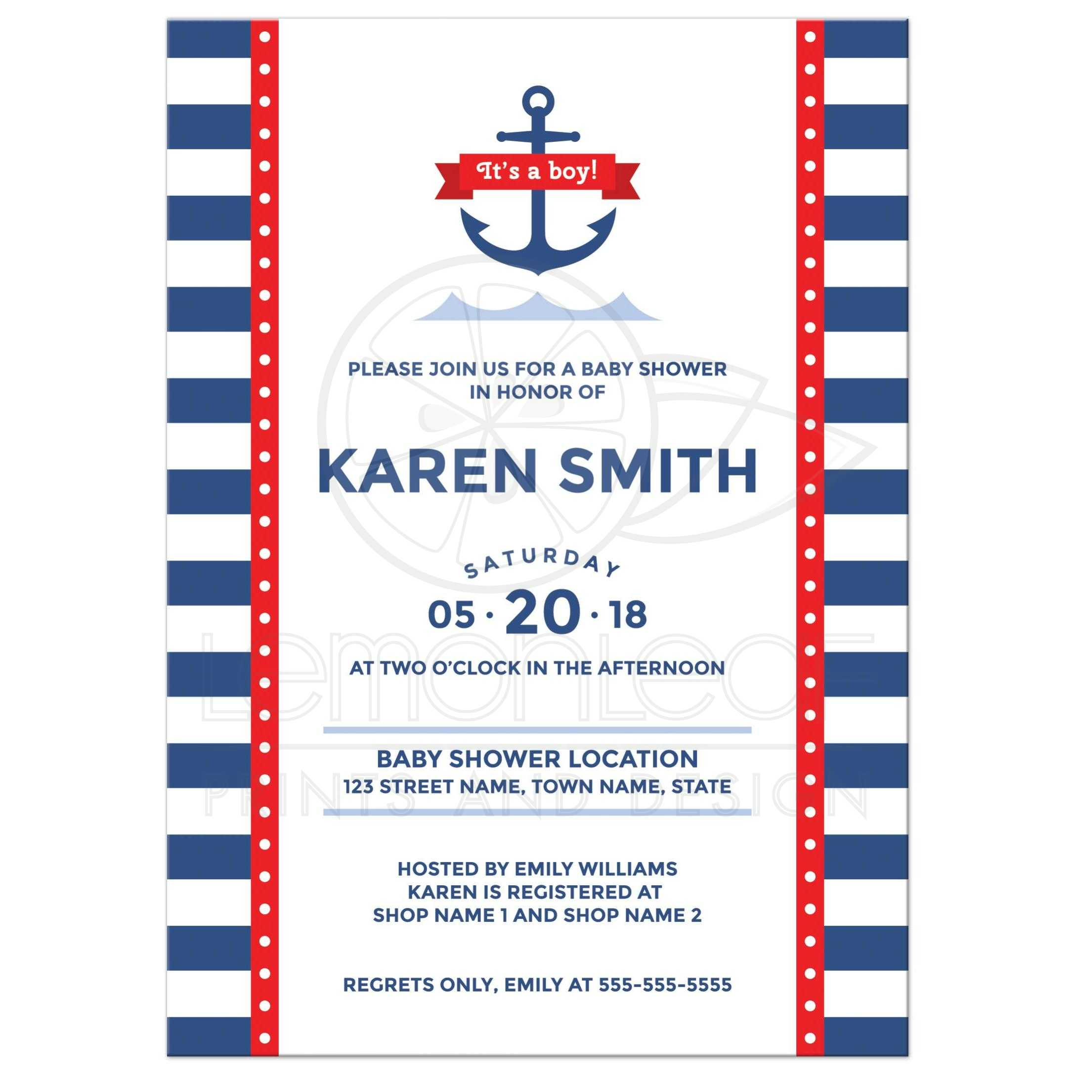 Nautical baby shower invitation with anchor, waves and stripes ...