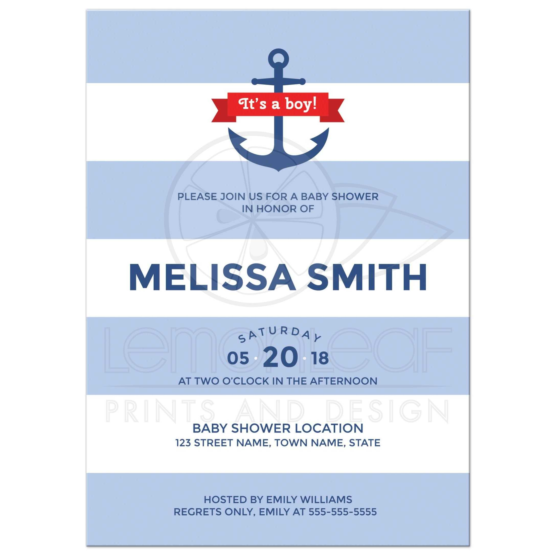 Nautical baby shower invitation with wide blue stripes and anchor ...