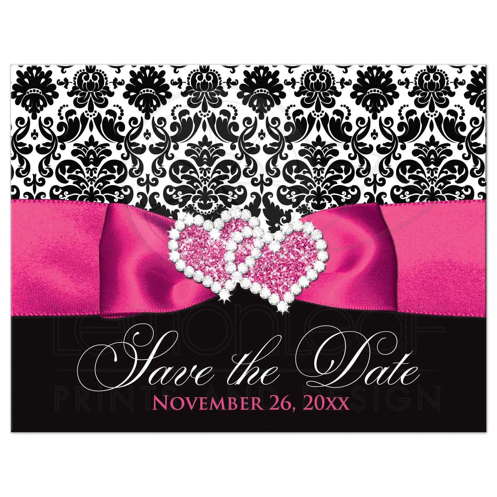 wedding save the date postcard black and white damask printed