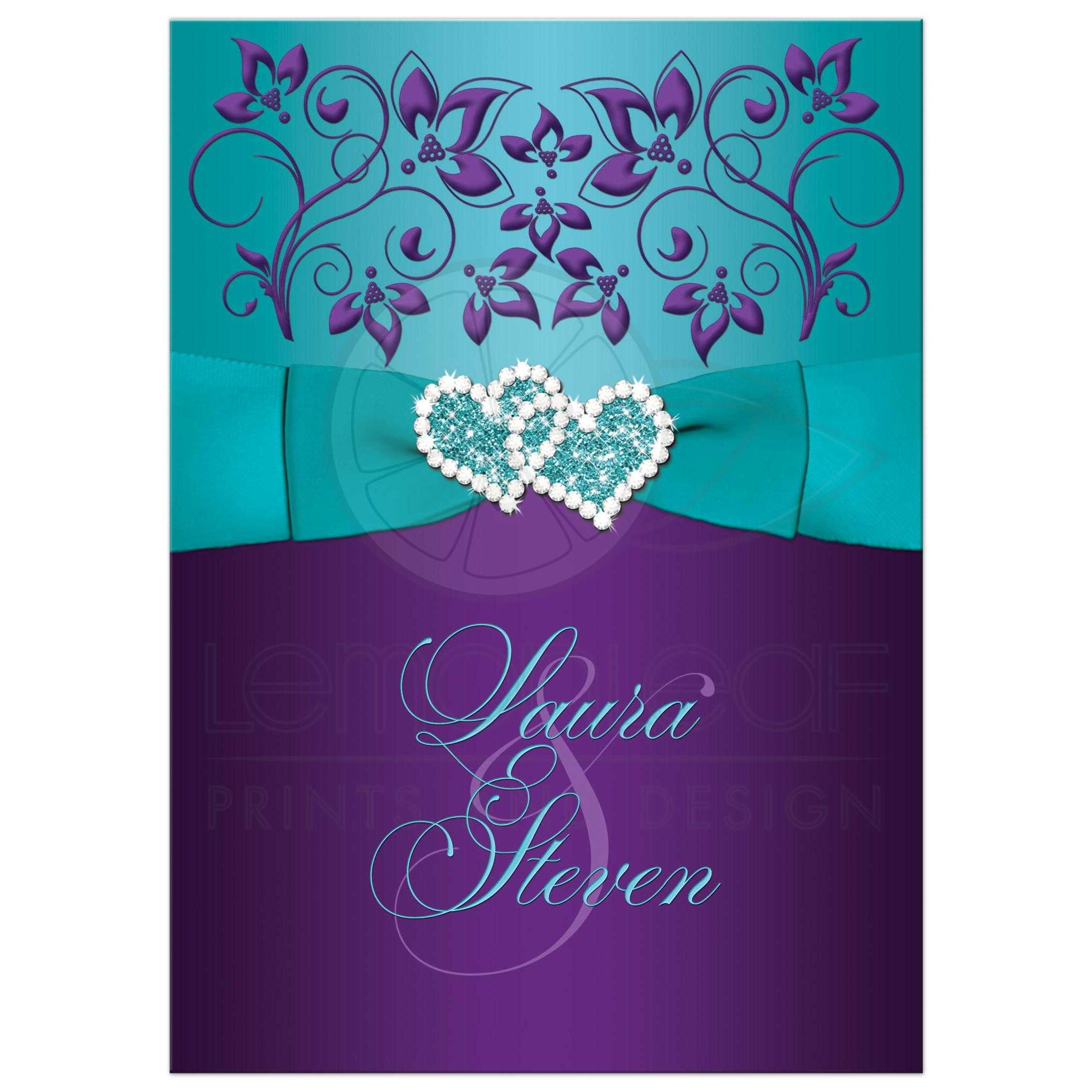 Purple, Turquoise Blue And White Floral Wedding Invites With Aqua Ribbon,  Bow, ...