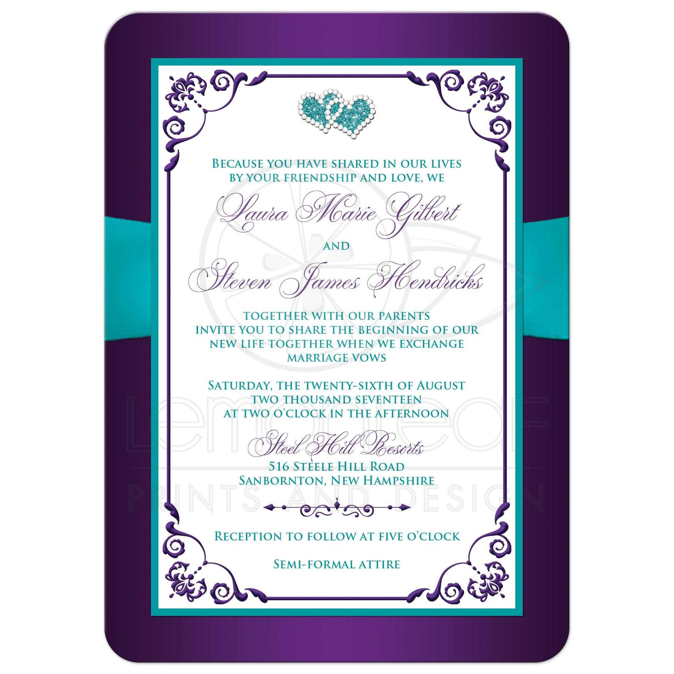 Wedding Invitation | Purple, Aqua, White Floral | PRINTED Ribbon & Double Jeweled Hearts