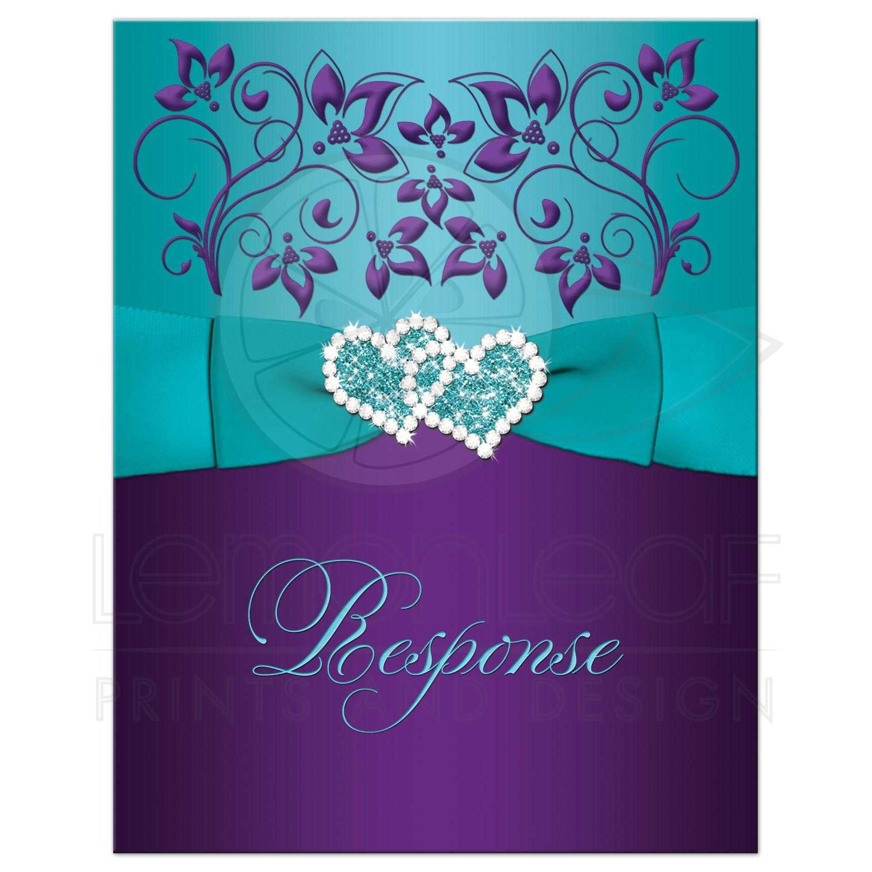 Wedding Response Card | Purple, Aqua, White Floral | PRINTED ...