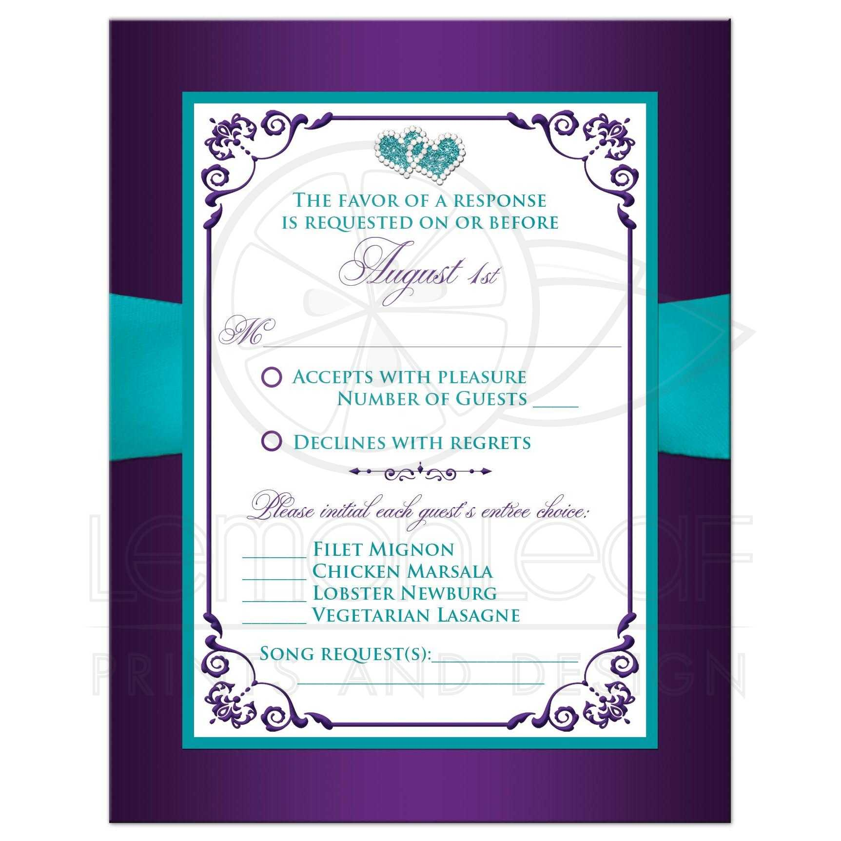 Wedding Response Card | Purple, Aqua, White Floral | PRINTED Ribbon ...