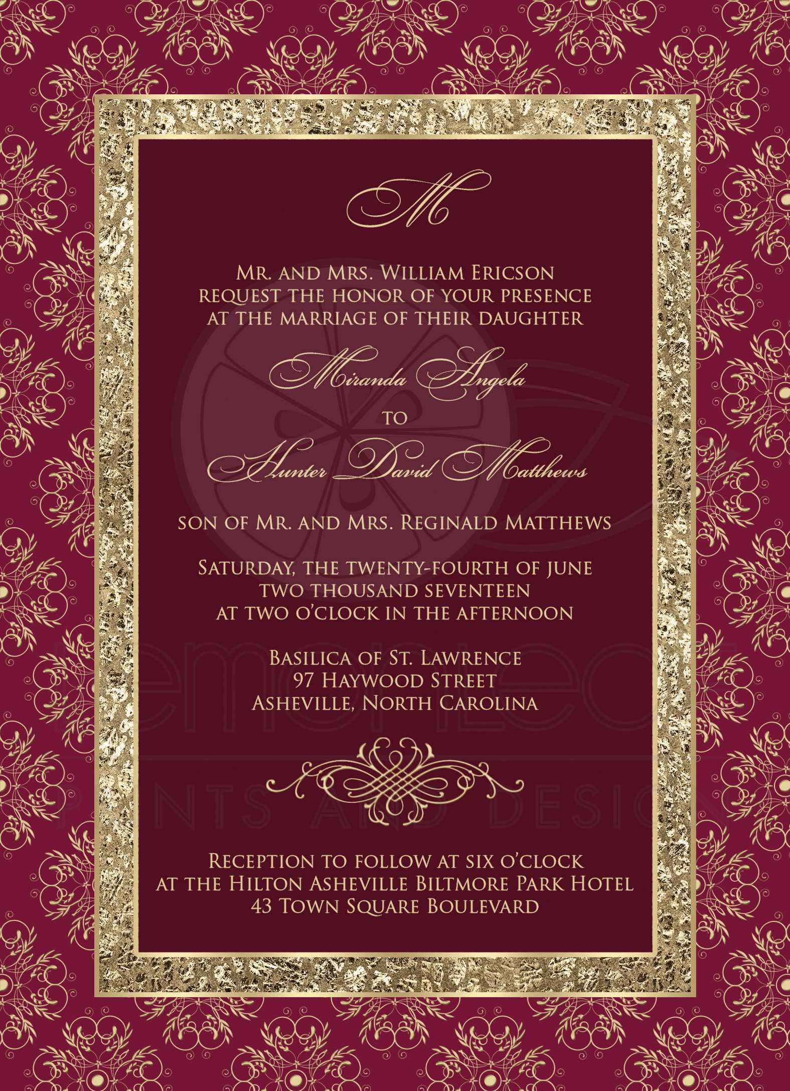 Wedding Invitation | Burgundy, Gold Elegance | Monogram