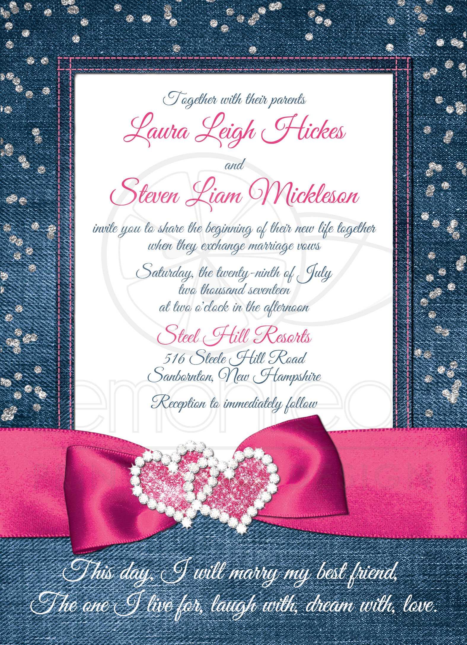Denim & Diamonds Wedding Invitation | FAUX Silver Confetti, Ribbon ...