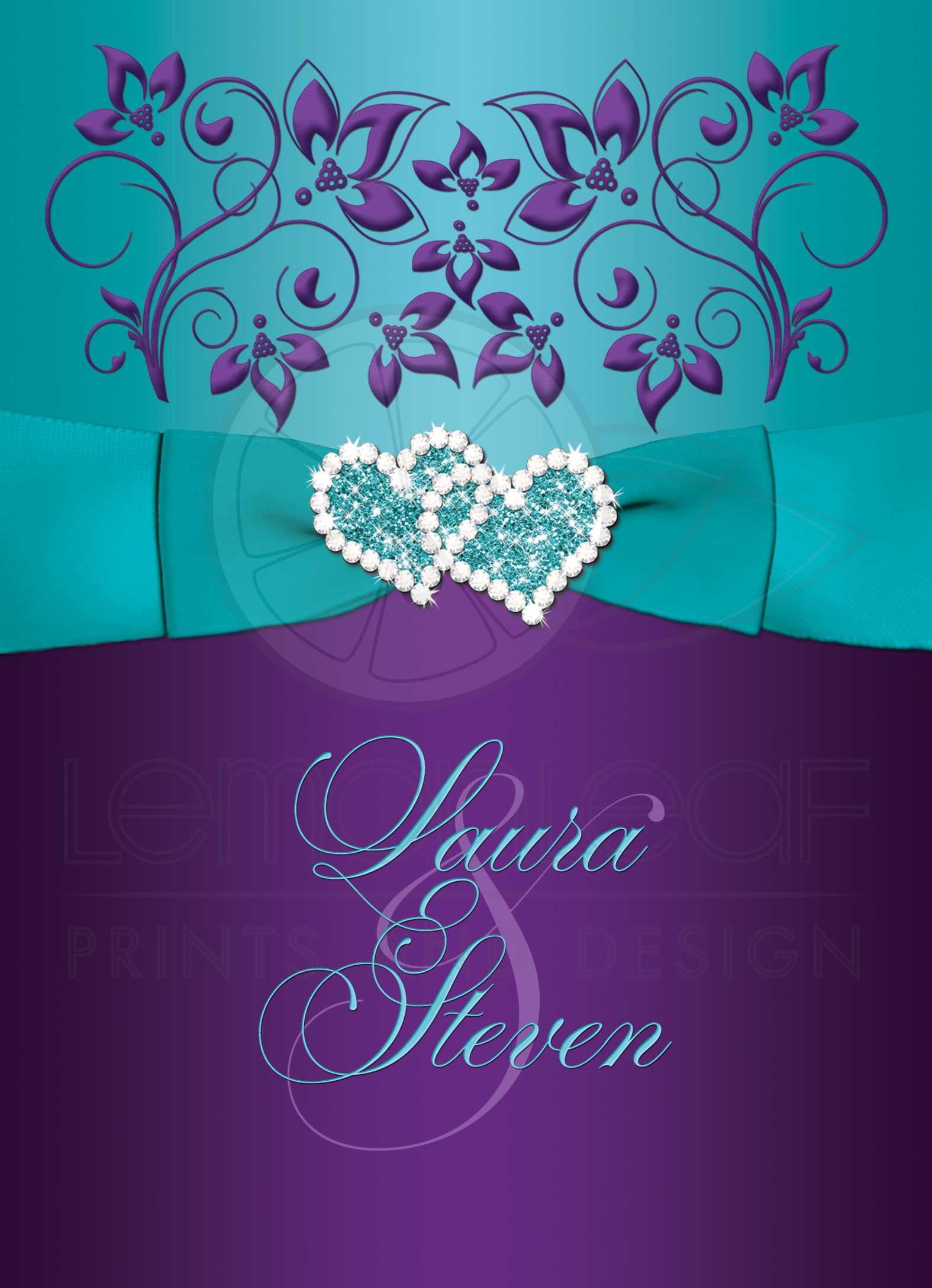wedding invitation purple aqua white floral printed ribbon double jeweled hearts - Purple And Turquoise Wedding Invitations