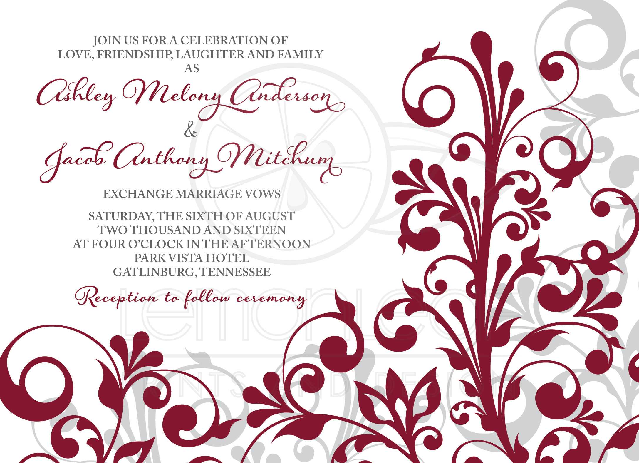 burgundy gray abstract floral wedding invitation