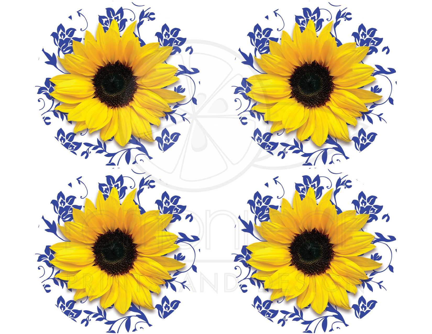 Sunflower Royal Blue Damask Wedding Stickers Or Envelope Seals
