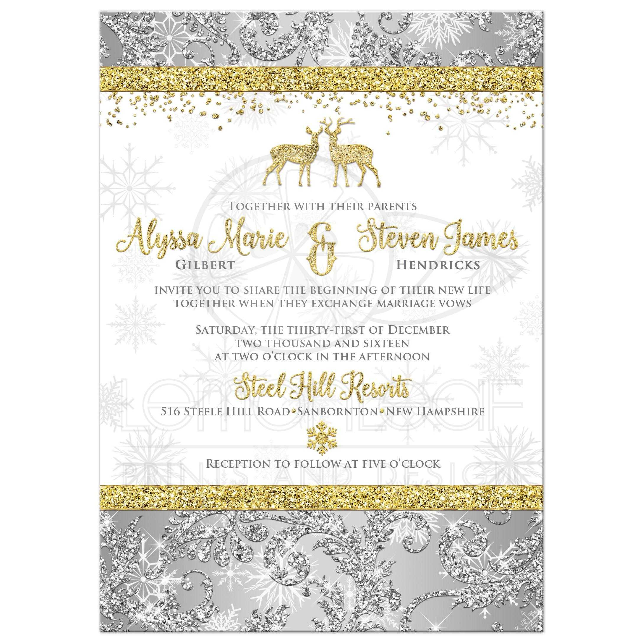 Silver, Gold, And White Snowflakes And Glitter Damask Pattern Winter  Wonderland Wedding Invitations With ...